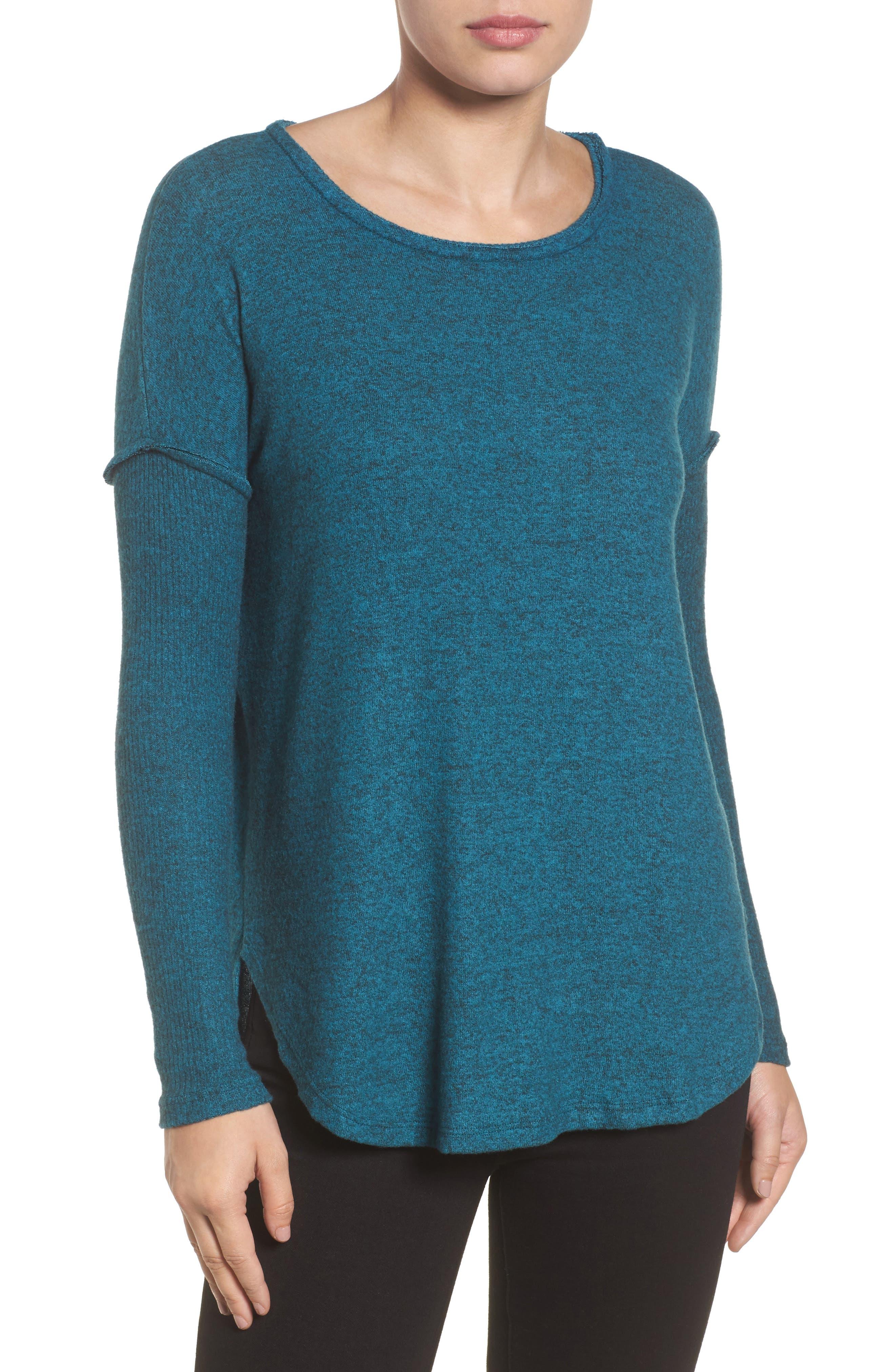 Bobeau Rib Long Sleeve Fuzzy Sweatshirt (Regular & Petite)