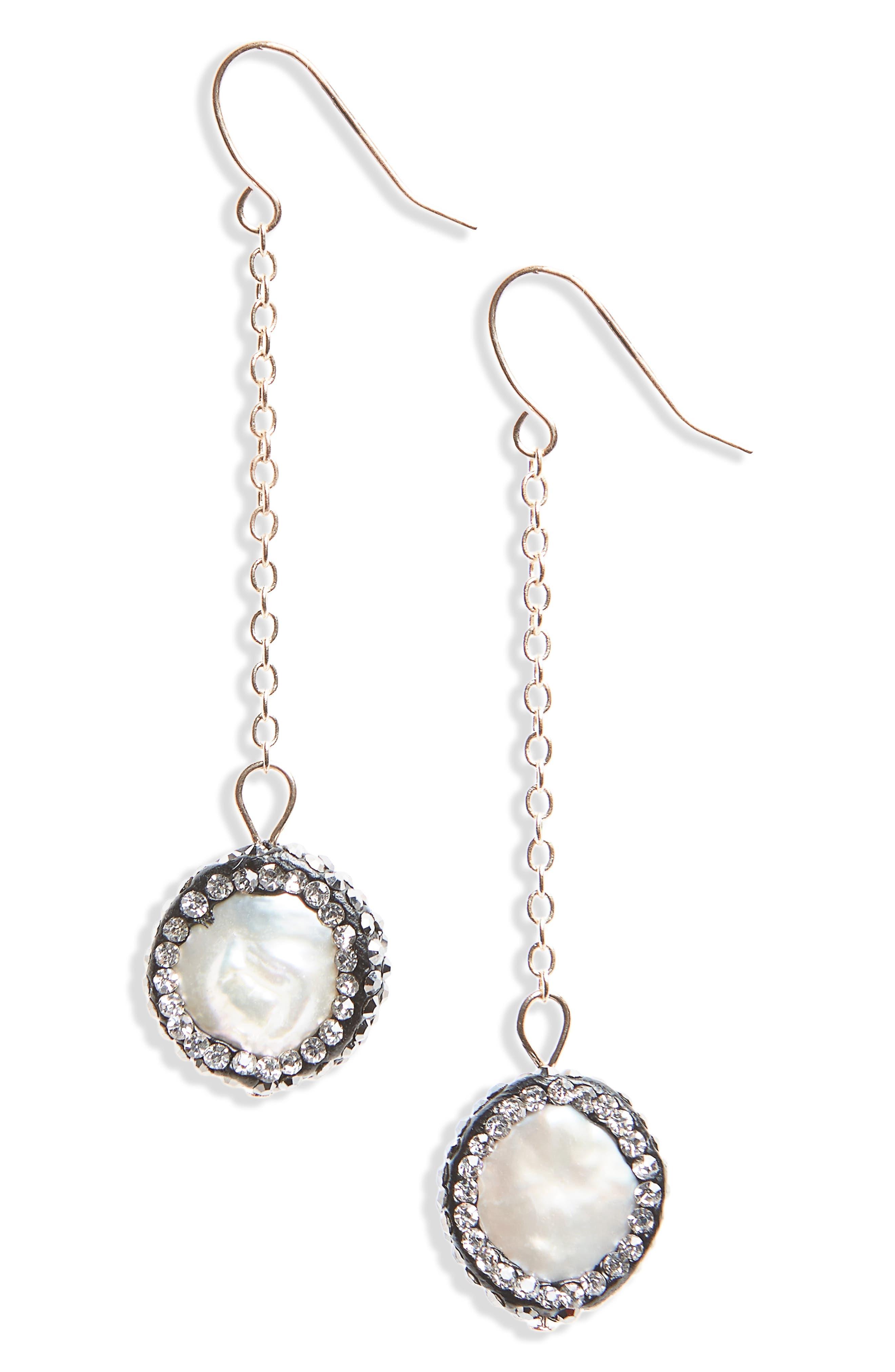 Panacea Freshwater Pearl & Crystal Drop Earrings