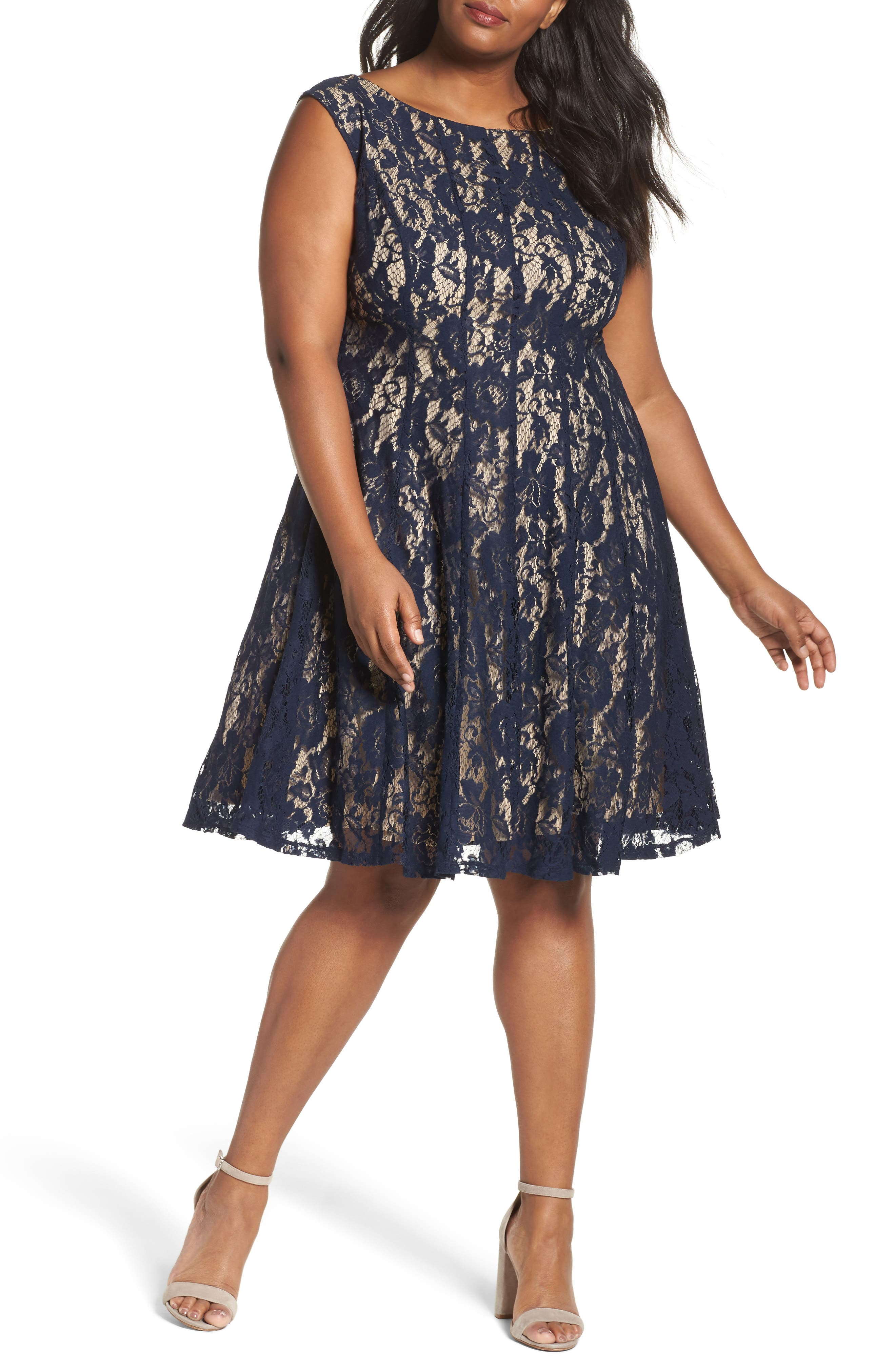 Lace Fit & Flare Dress,                             Main thumbnail 1, color,                             Navy/ Nude