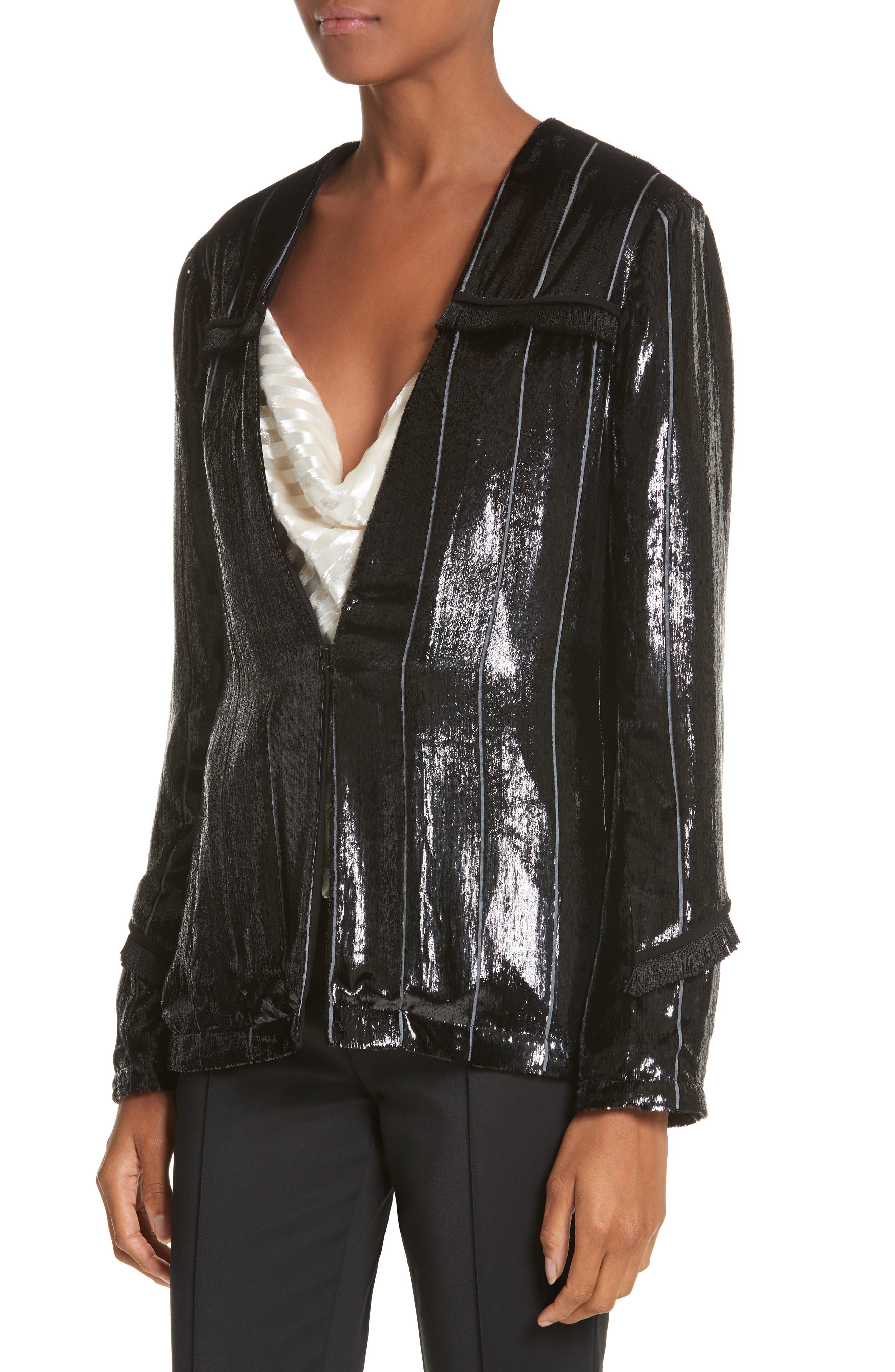 Alternate Image 4  - Yigal Azrouël Fringe Trim Liquid Velvet Blazer