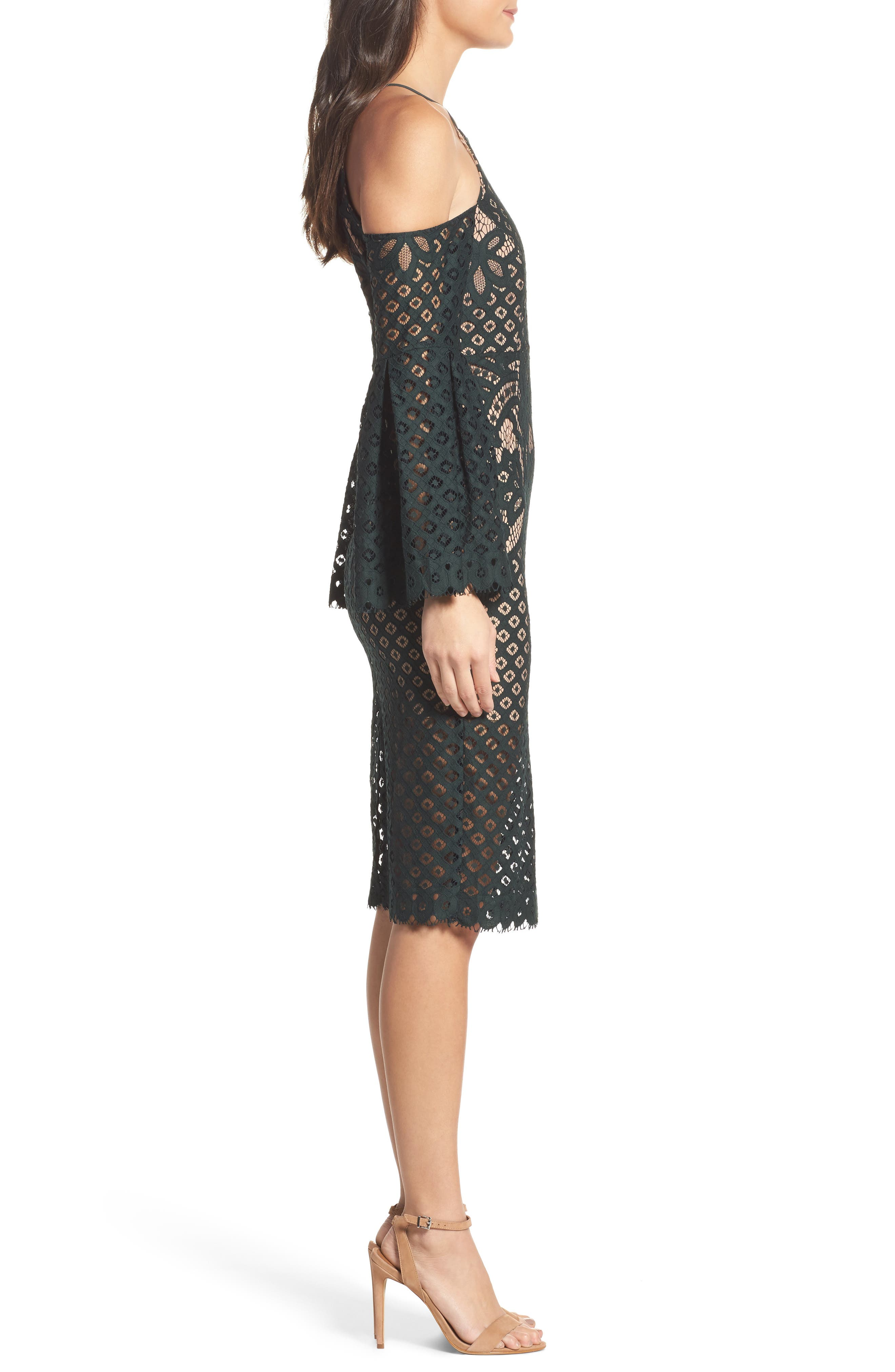 Alternate Image 3  - Bardot 'Mila' Cold Shoulder Lace Midi Dress