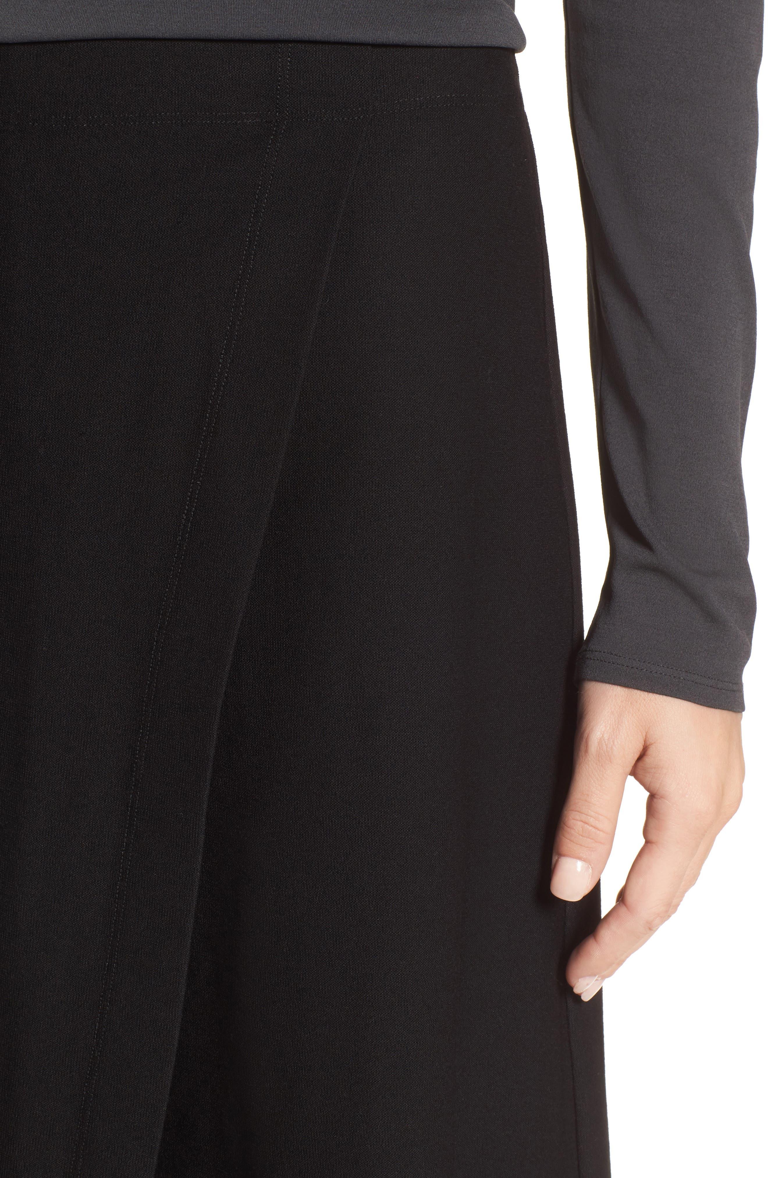 Crop Stretch Knit Pants,                             Alternate thumbnail 4, color,                             Black