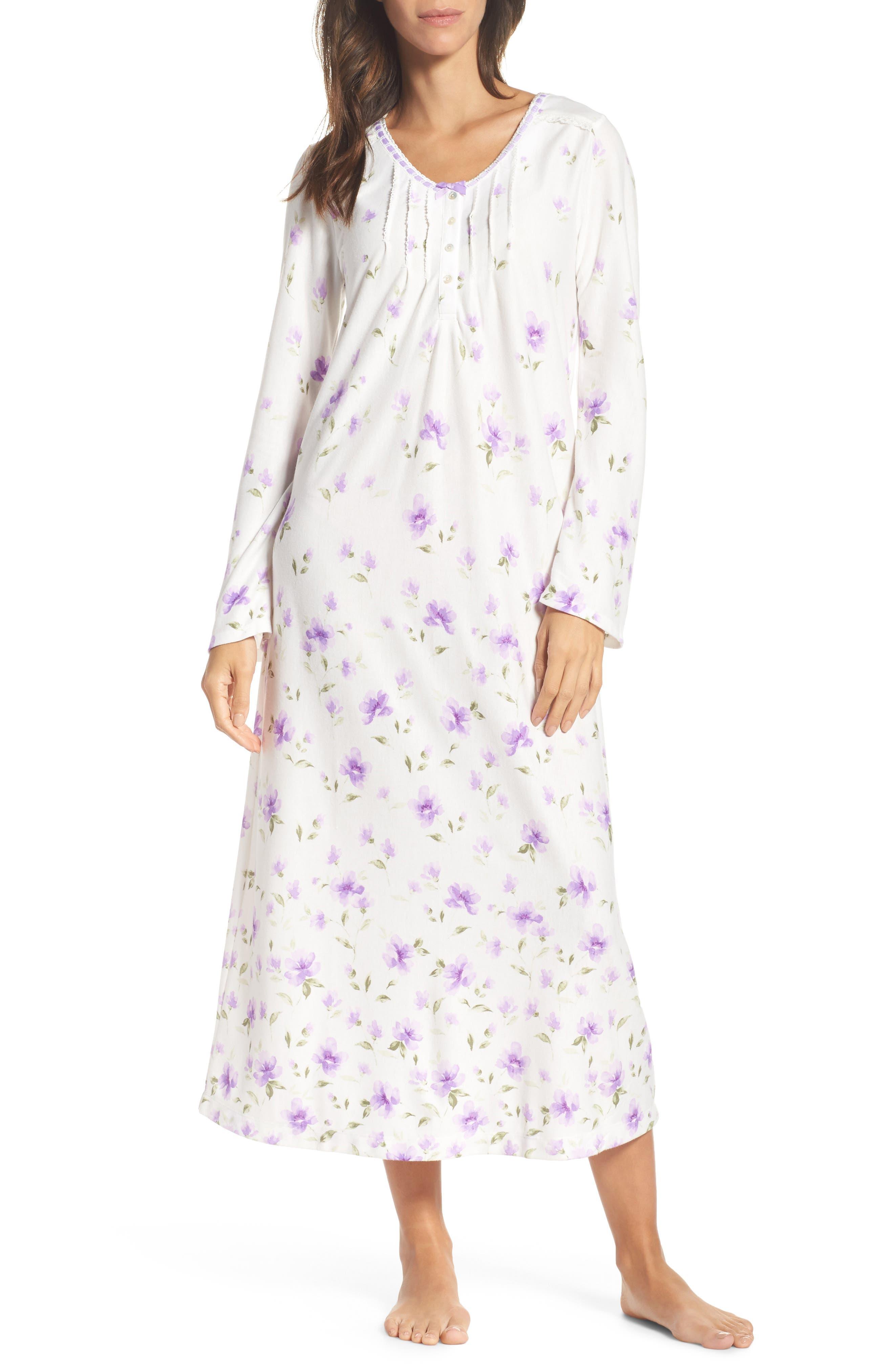 Long Nightgown,                             Main thumbnail 1, color,                             Watercolor Floral Border