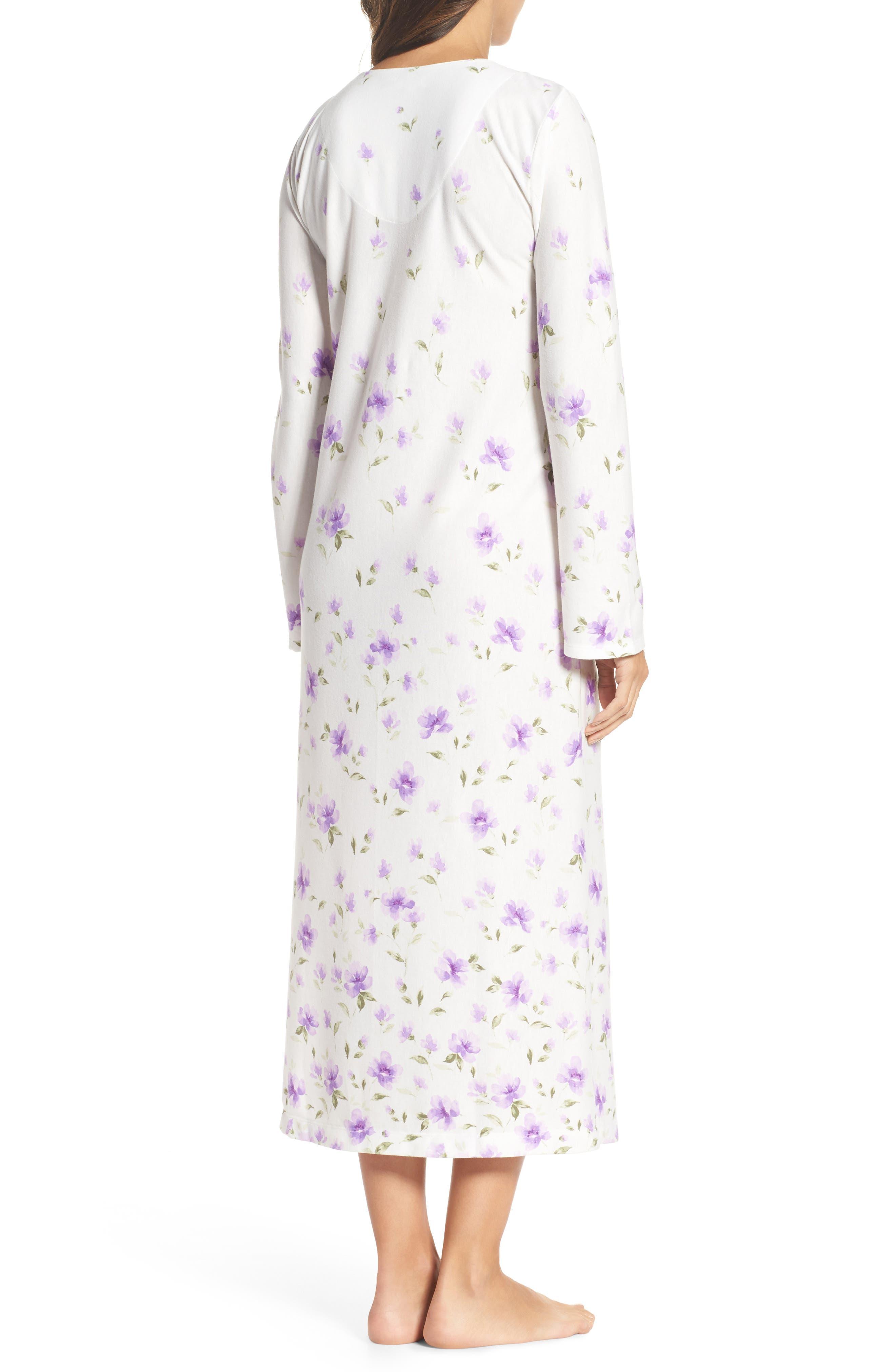 Long Nightgown,                             Alternate thumbnail 2, color,                             Watercolor Floral Border