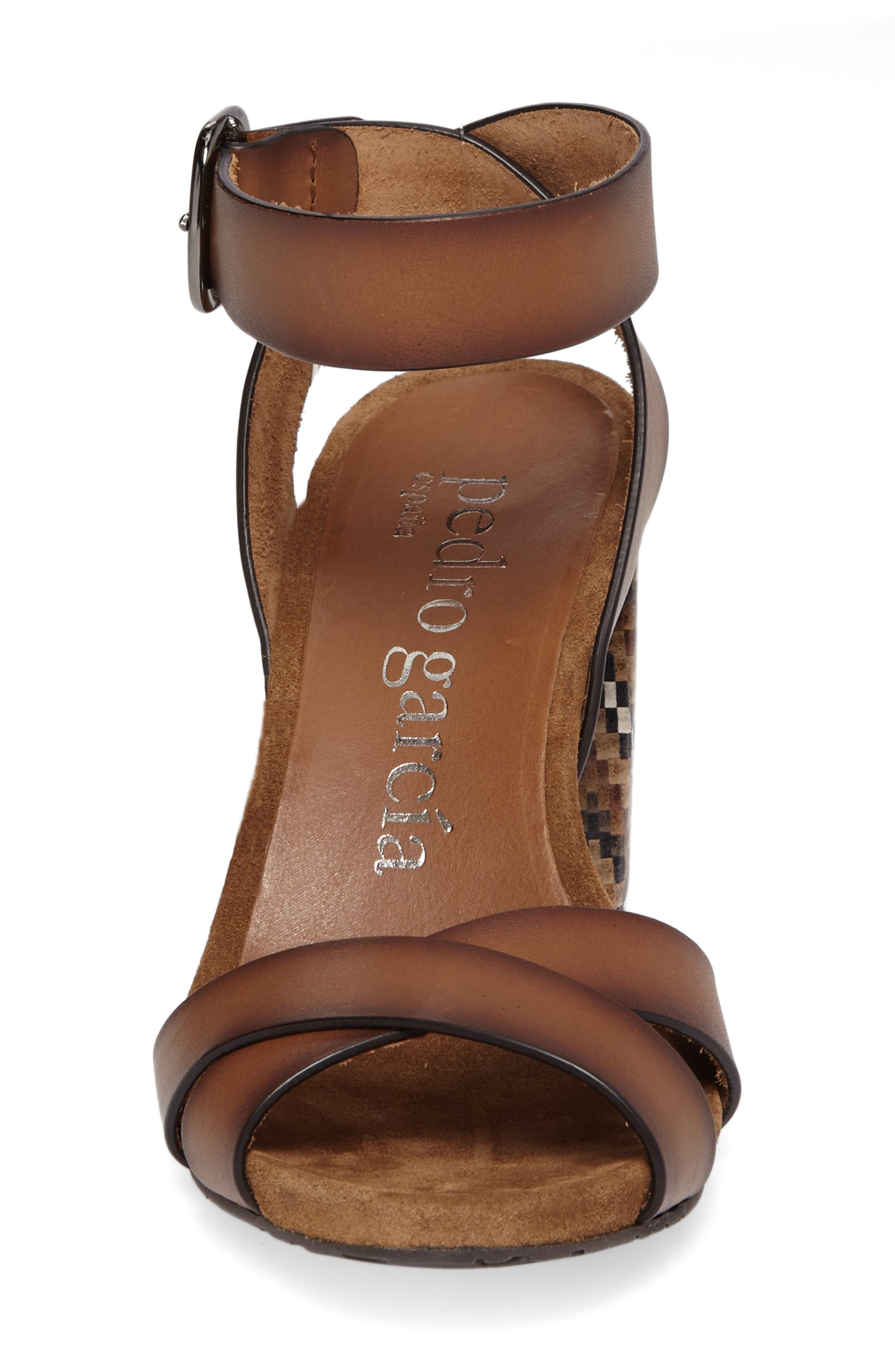 Yemba Embellished Heel Sandal,                             Alternate thumbnail 4, color,                             Cigar Vacchetta