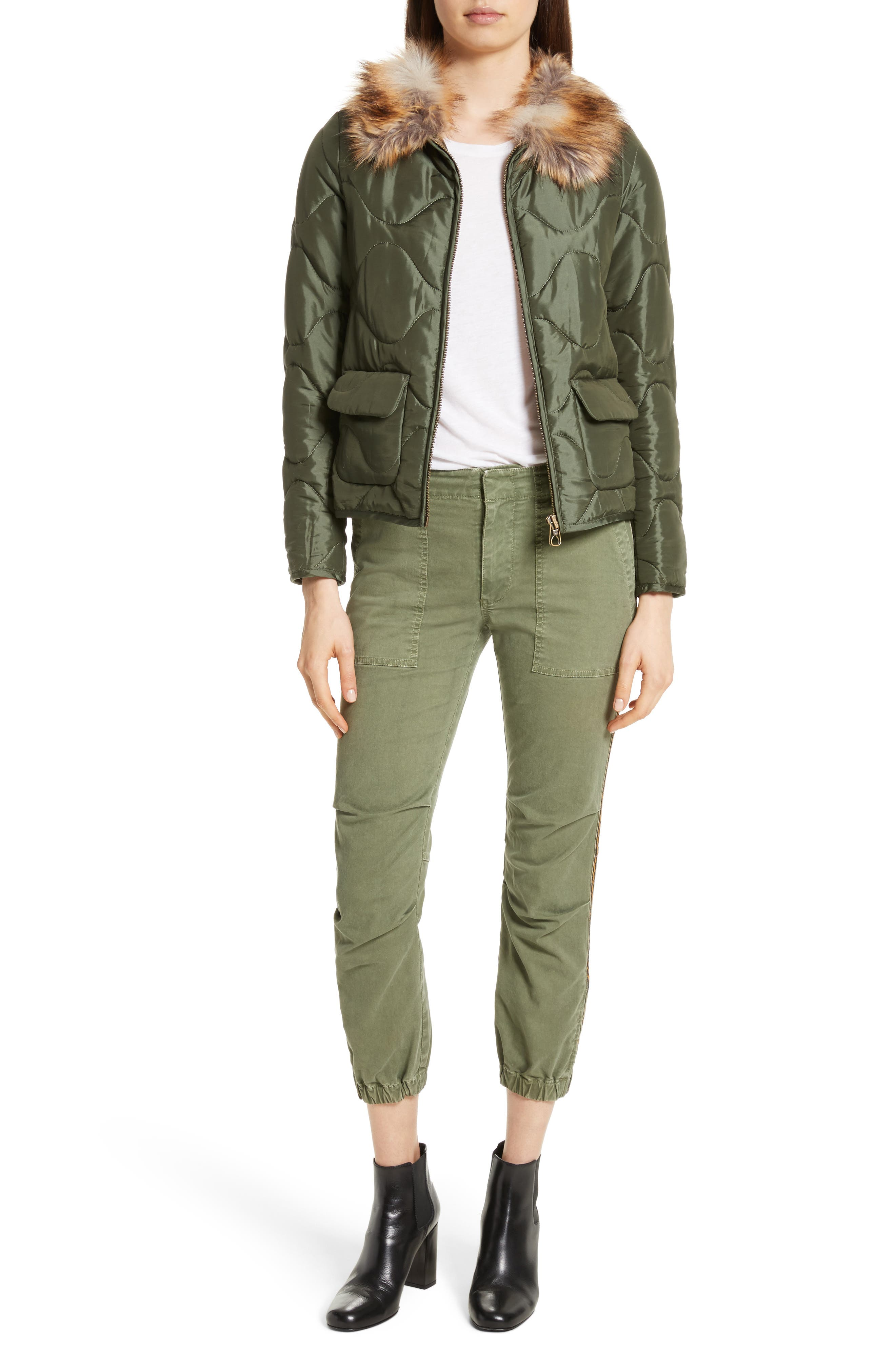 French Crop Military Pants,                             Alternate thumbnail 3, color,                             Camo