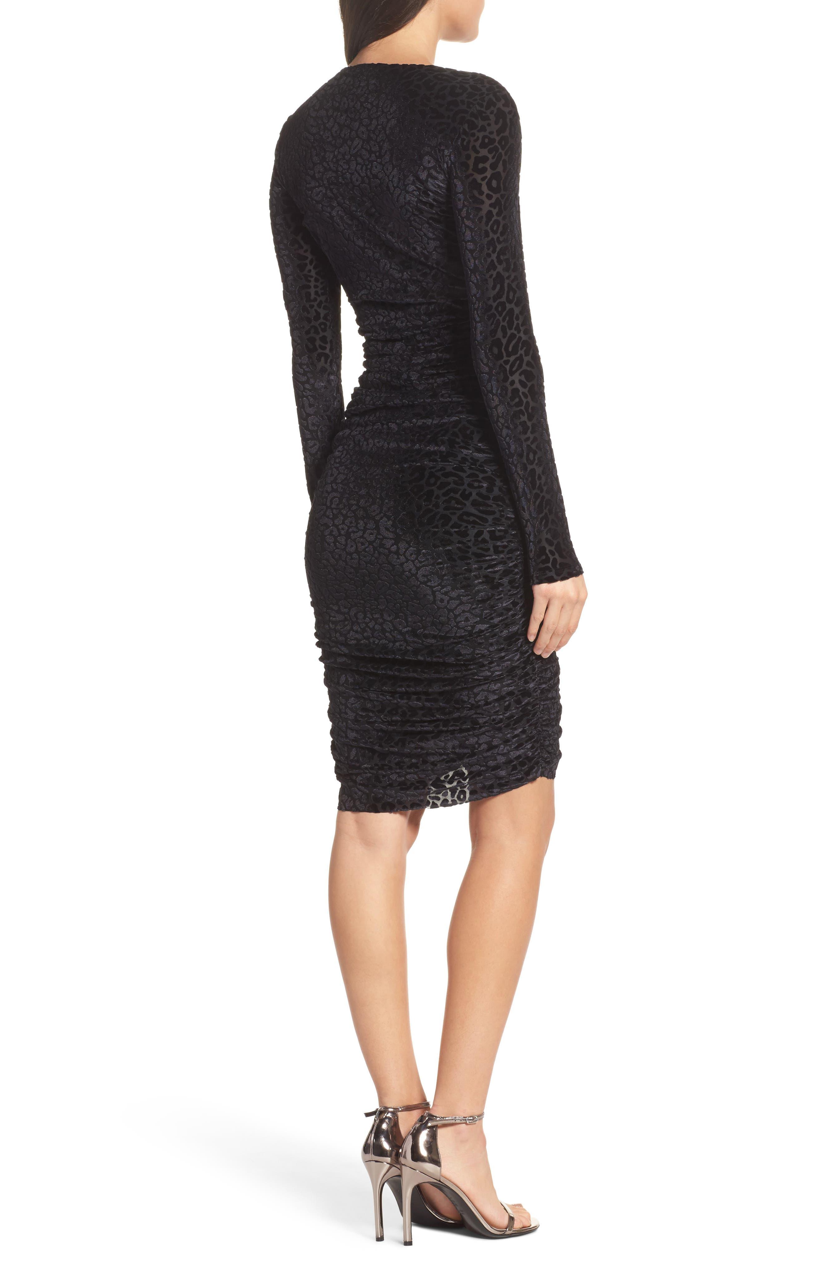 Alternate Image 2  - Bardot Leopard Velvet Mesh Body-Con Dress