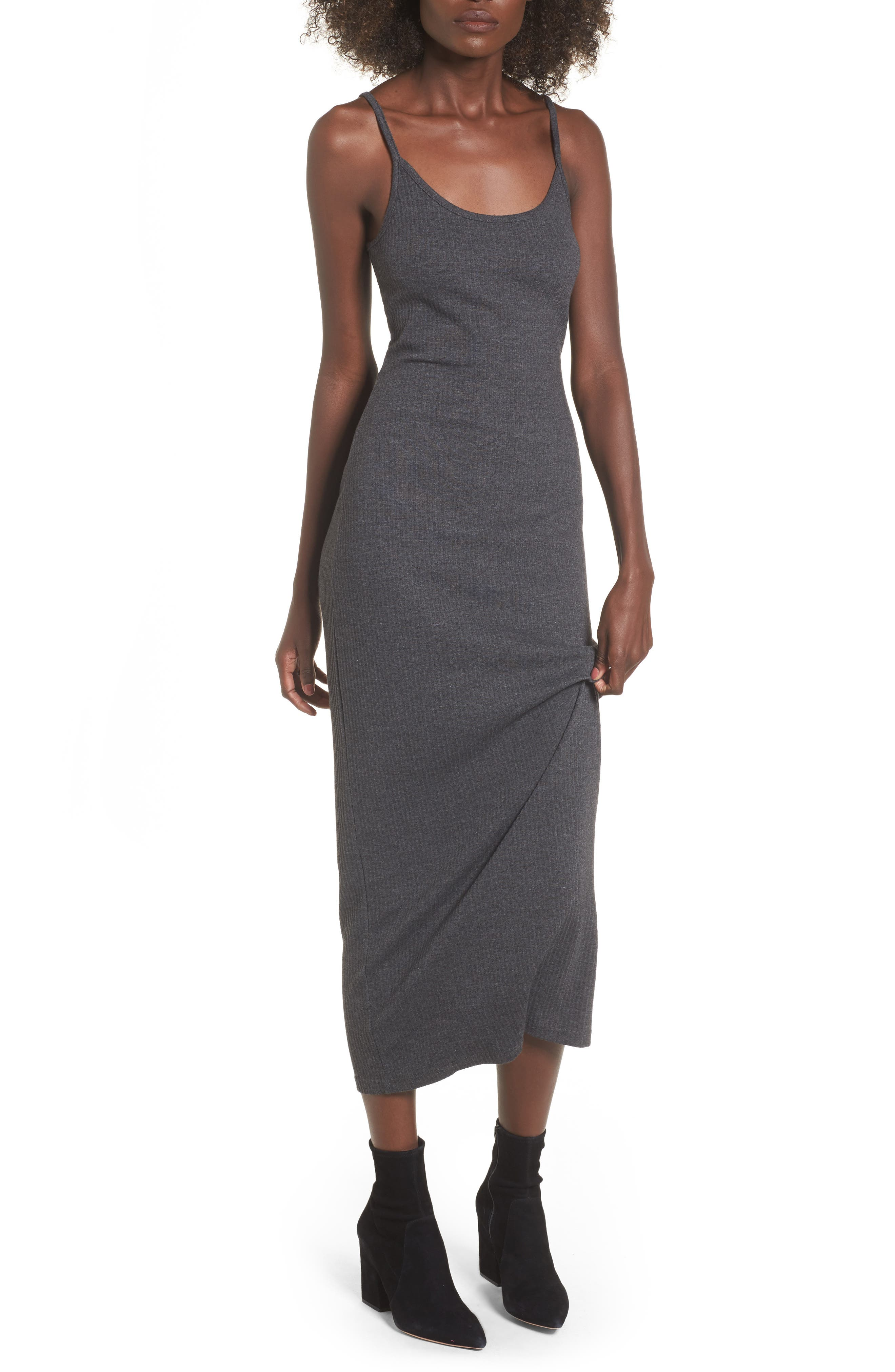 Strappy Maxi Dress,                         Main,                         color, Charcoal