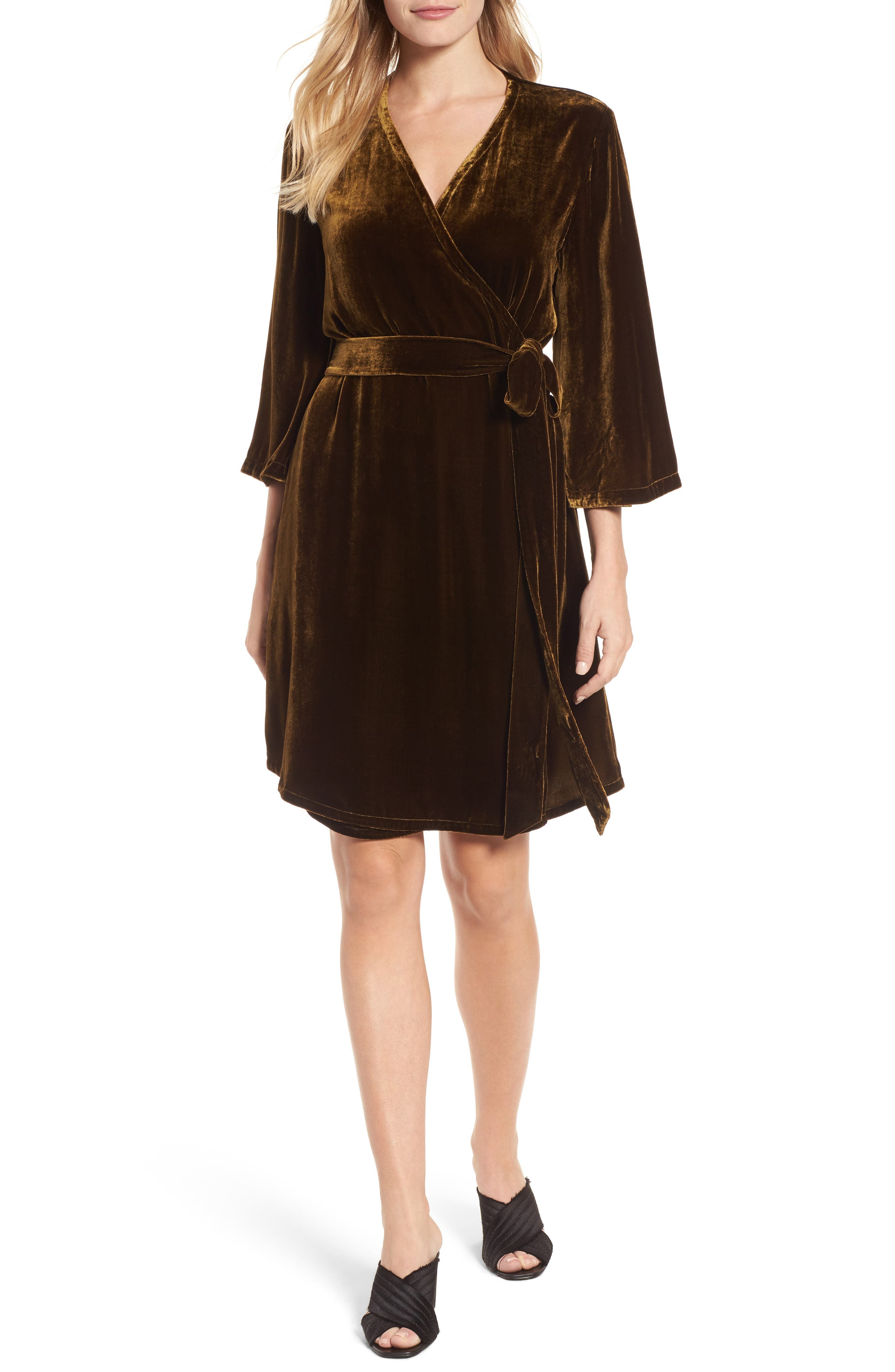 Velvet Wrap Dress,                         Main,                         color, Serpentine