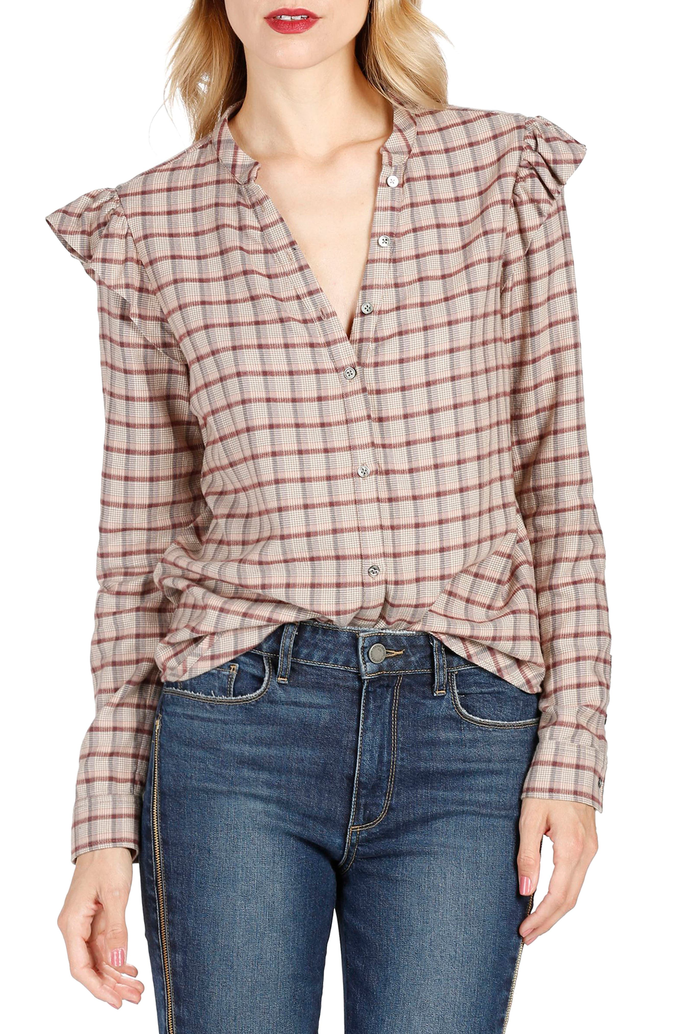 Alternate Image 1 Selected - PAIGE Jenelle Ruffle Plaid Shirt