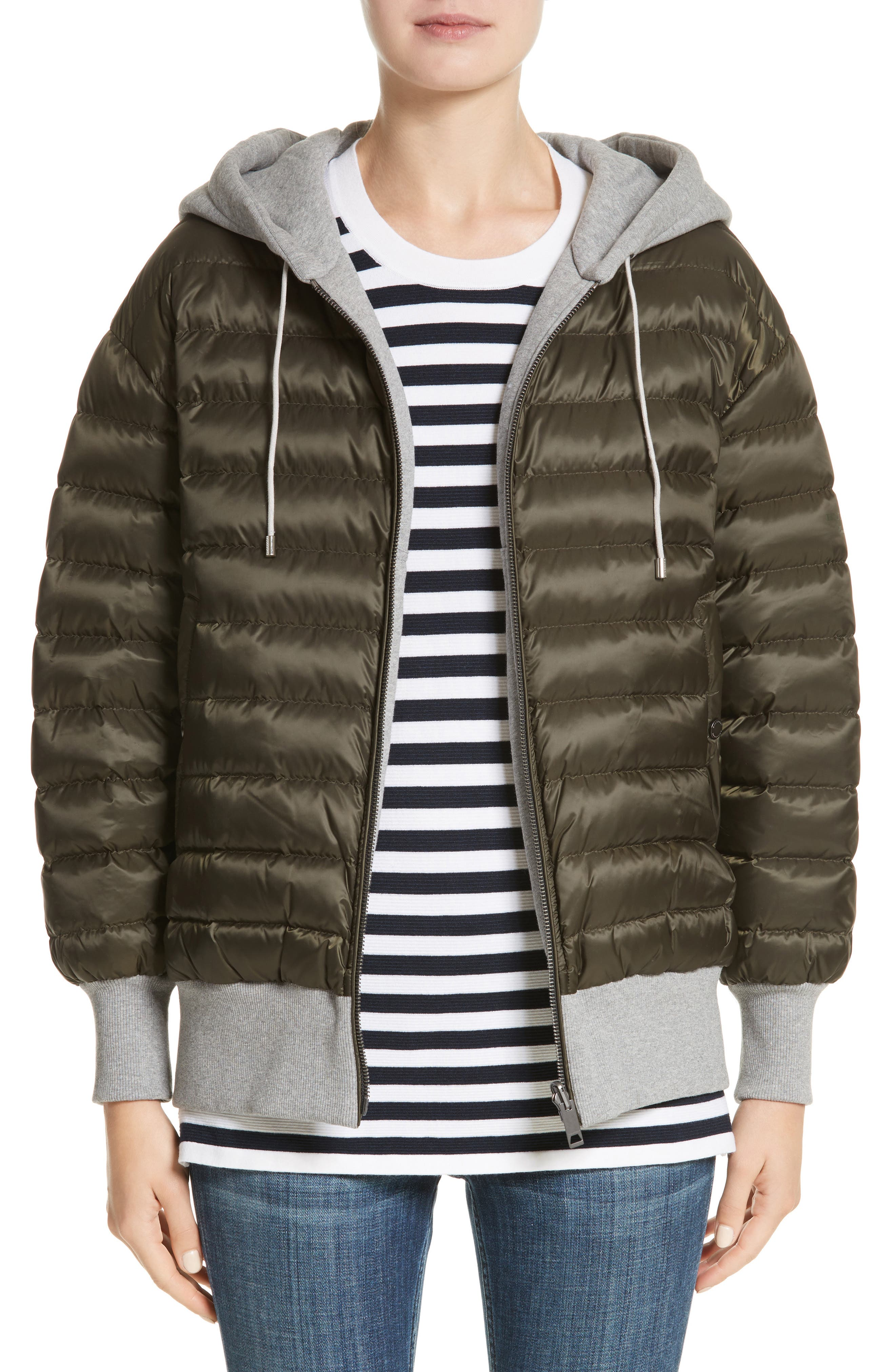 Langleigh Reversible Down Hooded Bomber Jacket,                         Main,                         color, Olive
