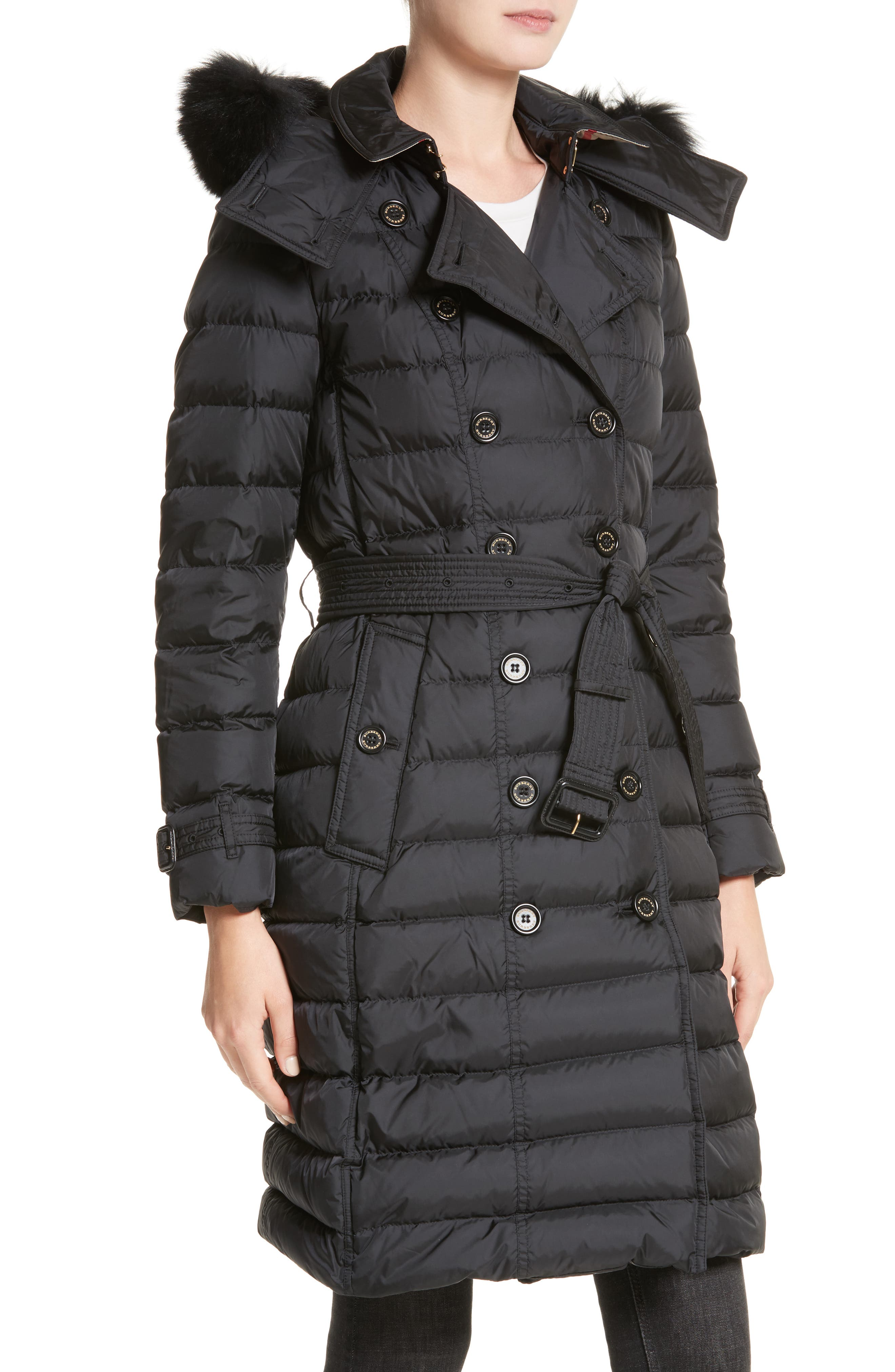 Alternate Image 4  - Burberry Hooded Down Puffer Coat with Genuine Fox Fur Trim