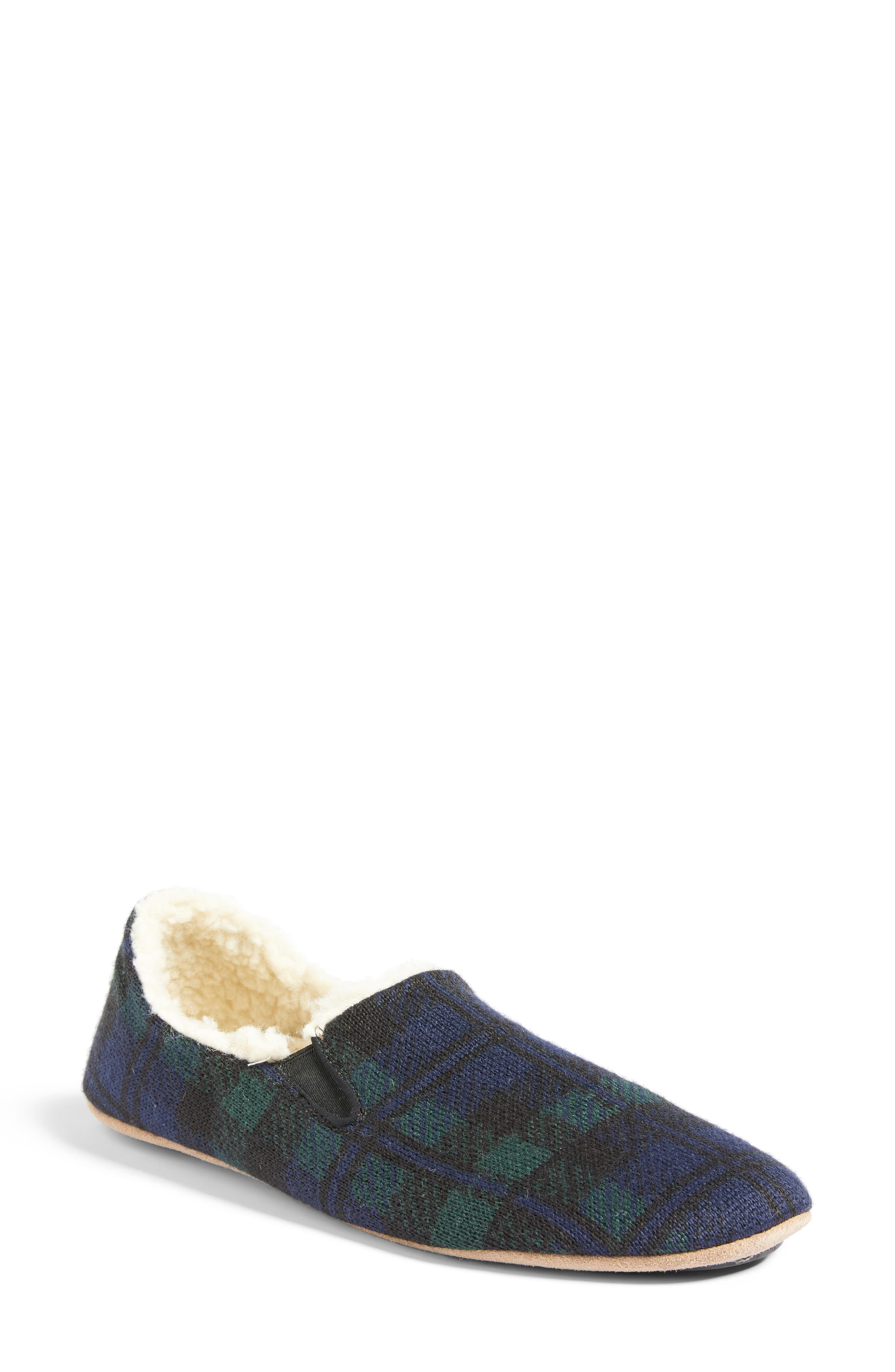Black Watch Plaid Nomad Slippers,                             Main thumbnail 1, color,                             Navy