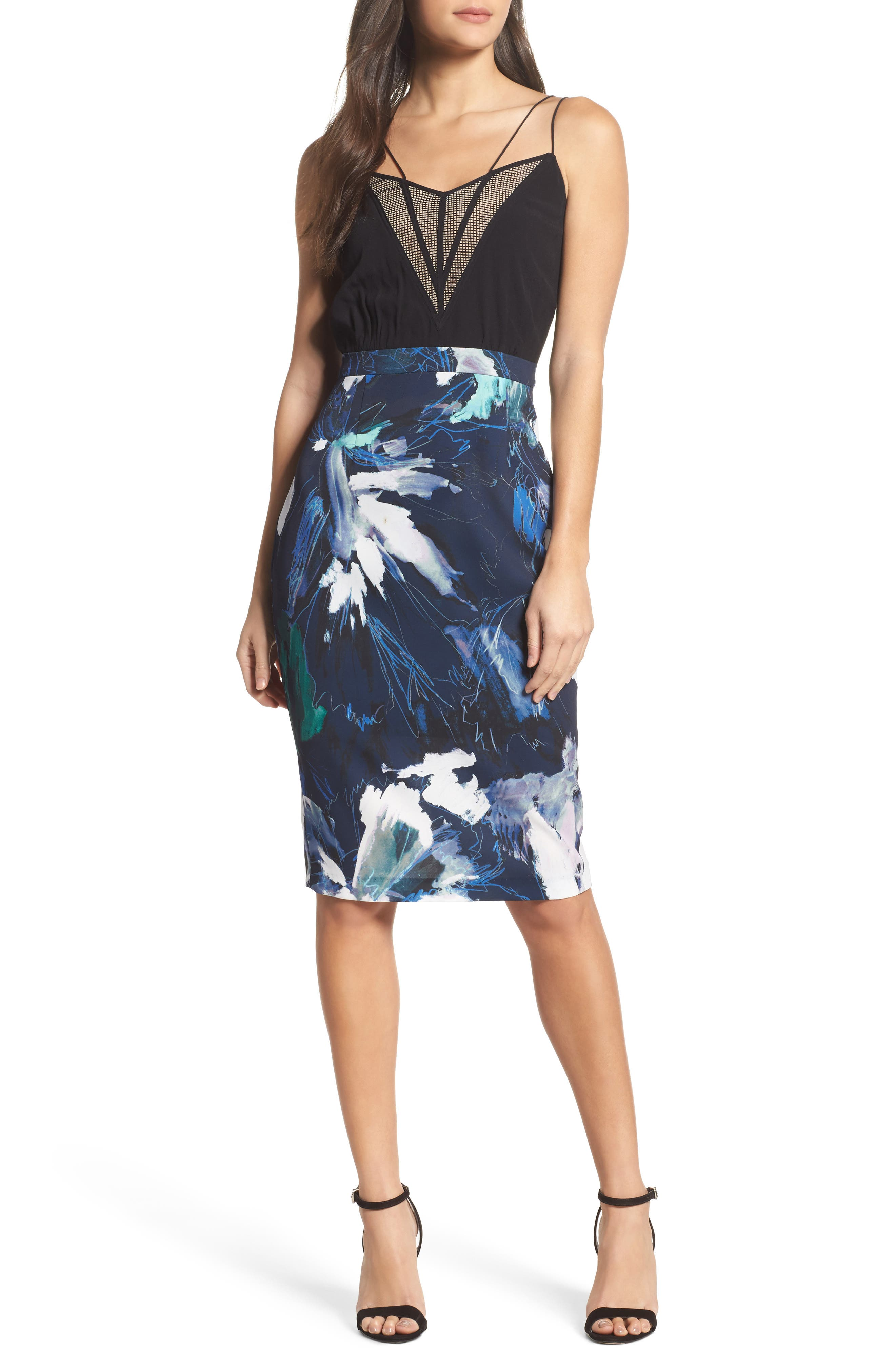 Strappy Print Dress,                             Main thumbnail 1, color,                             Navy Sketch Floral