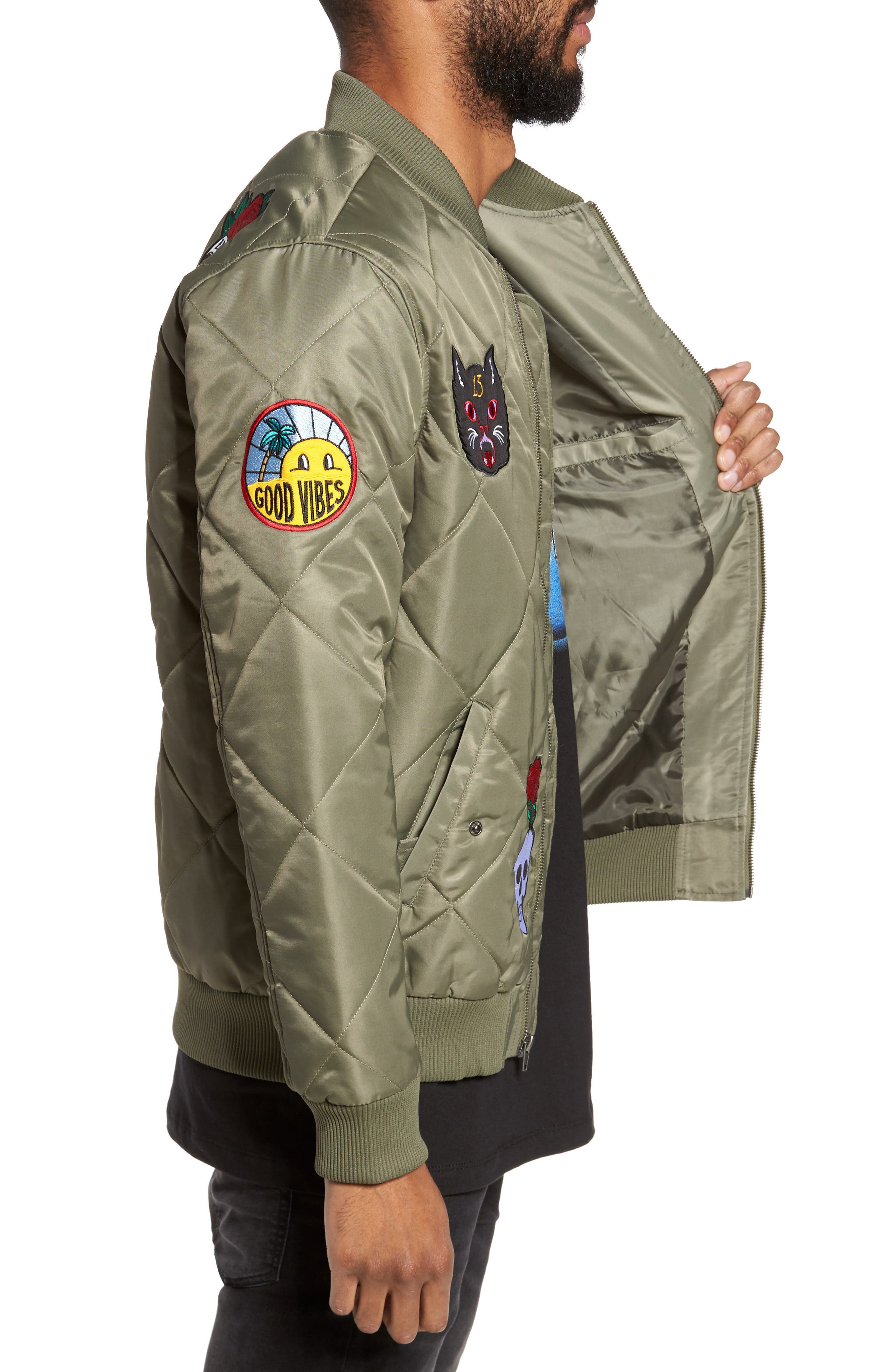 Quilted Bomber Jacket,                             Alternate thumbnail 3, color,                             Olive Marsh