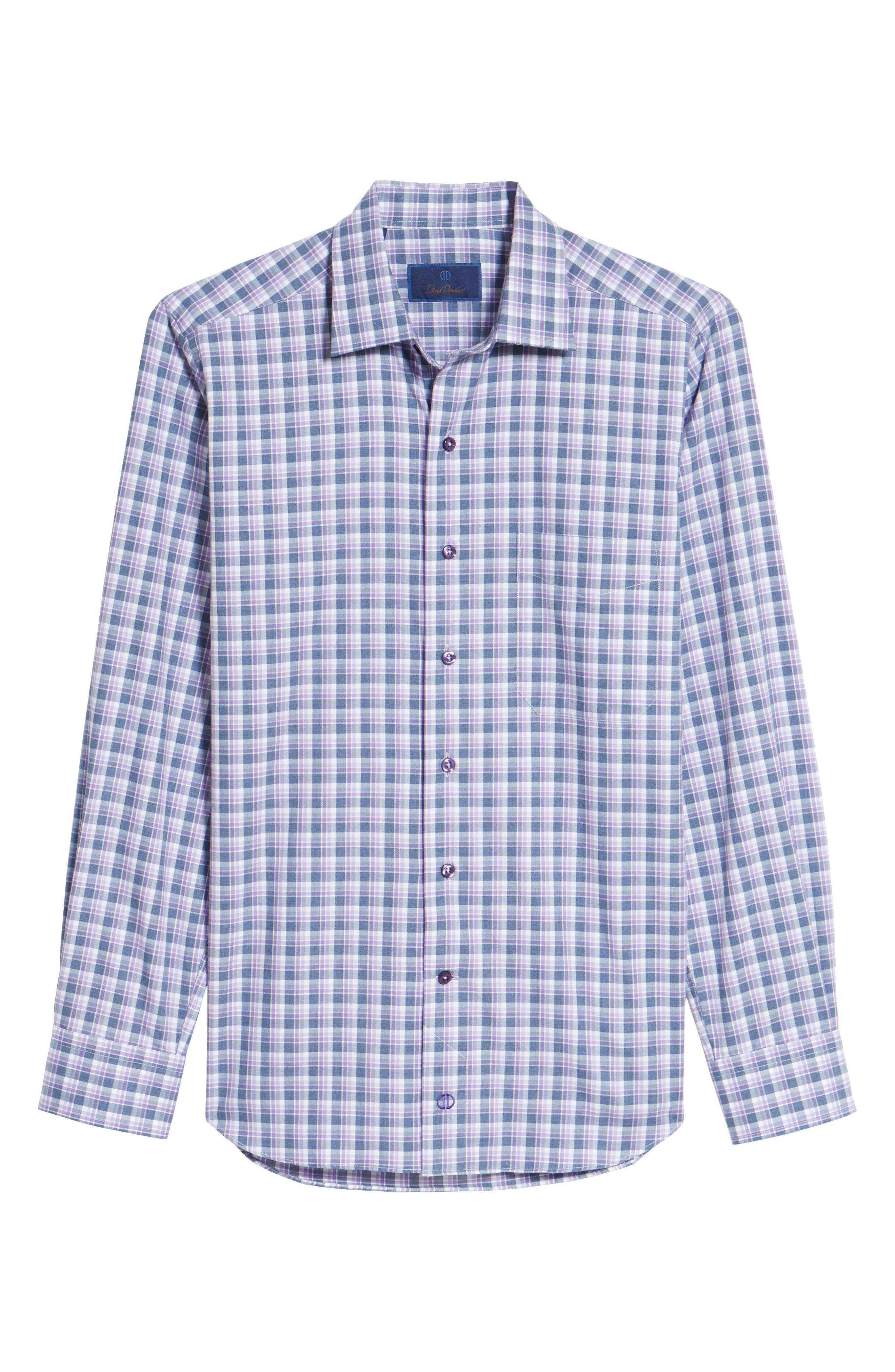 Alternate Image 6  - David Donahue Plaid Herringbone Sport Shirt