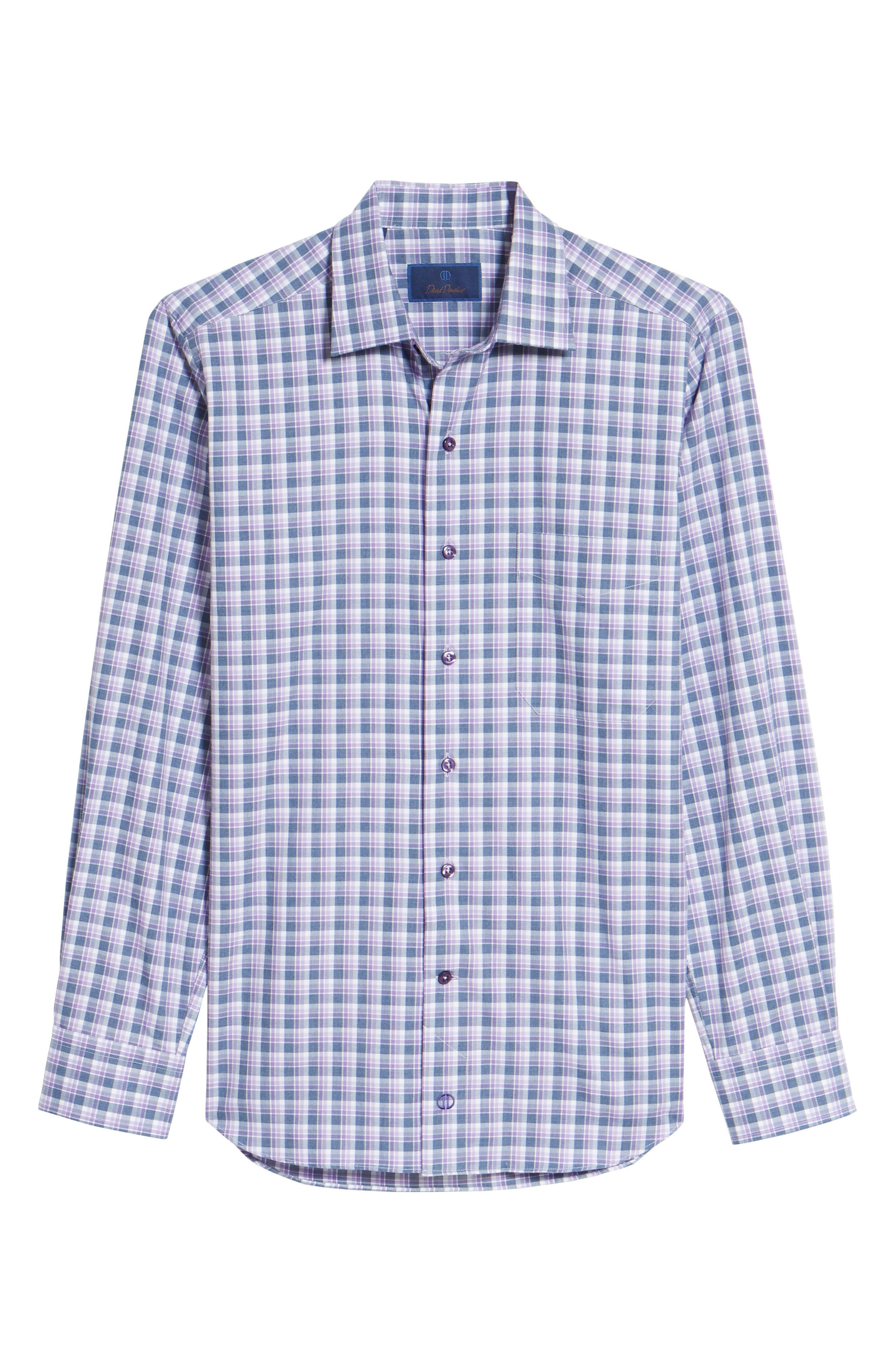 Plaid Herringbone Sport Shirt,                             Alternate thumbnail 6, color,                             Blue/ Purple