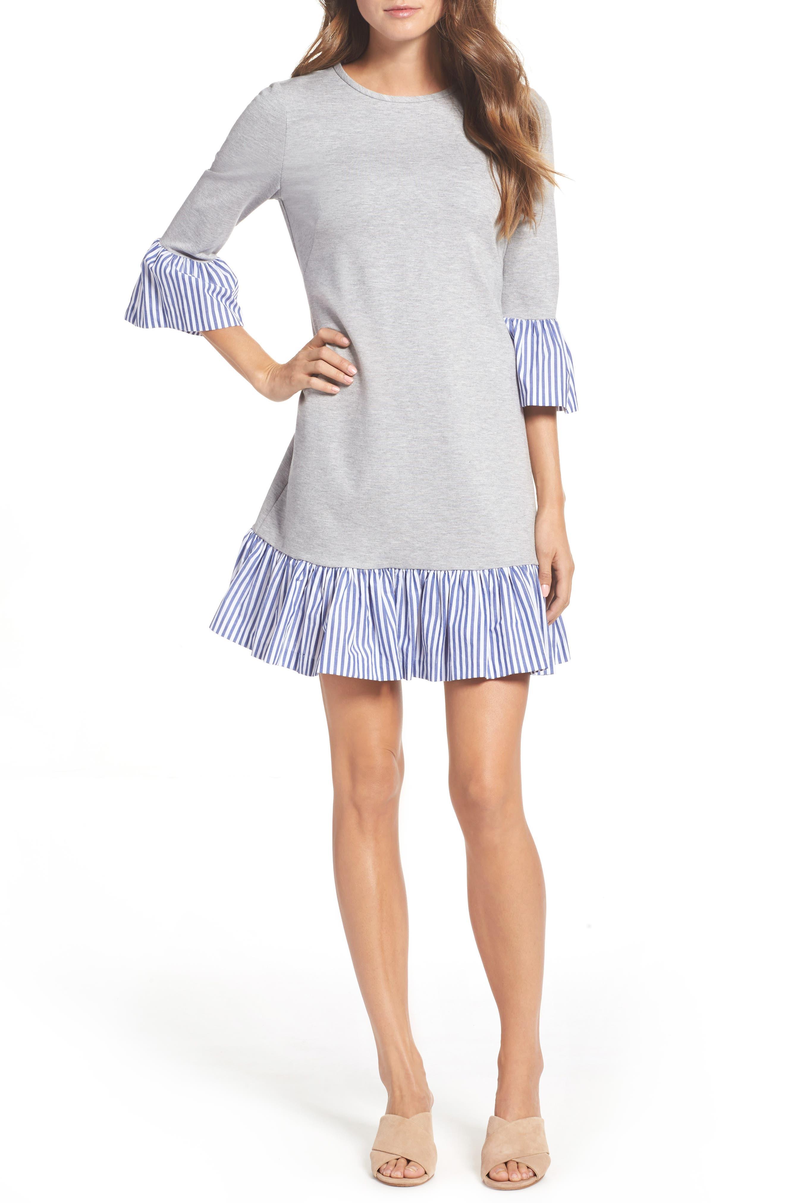 Flounce Hem Sweatshirt Dress,                         Main,                         color, Grey