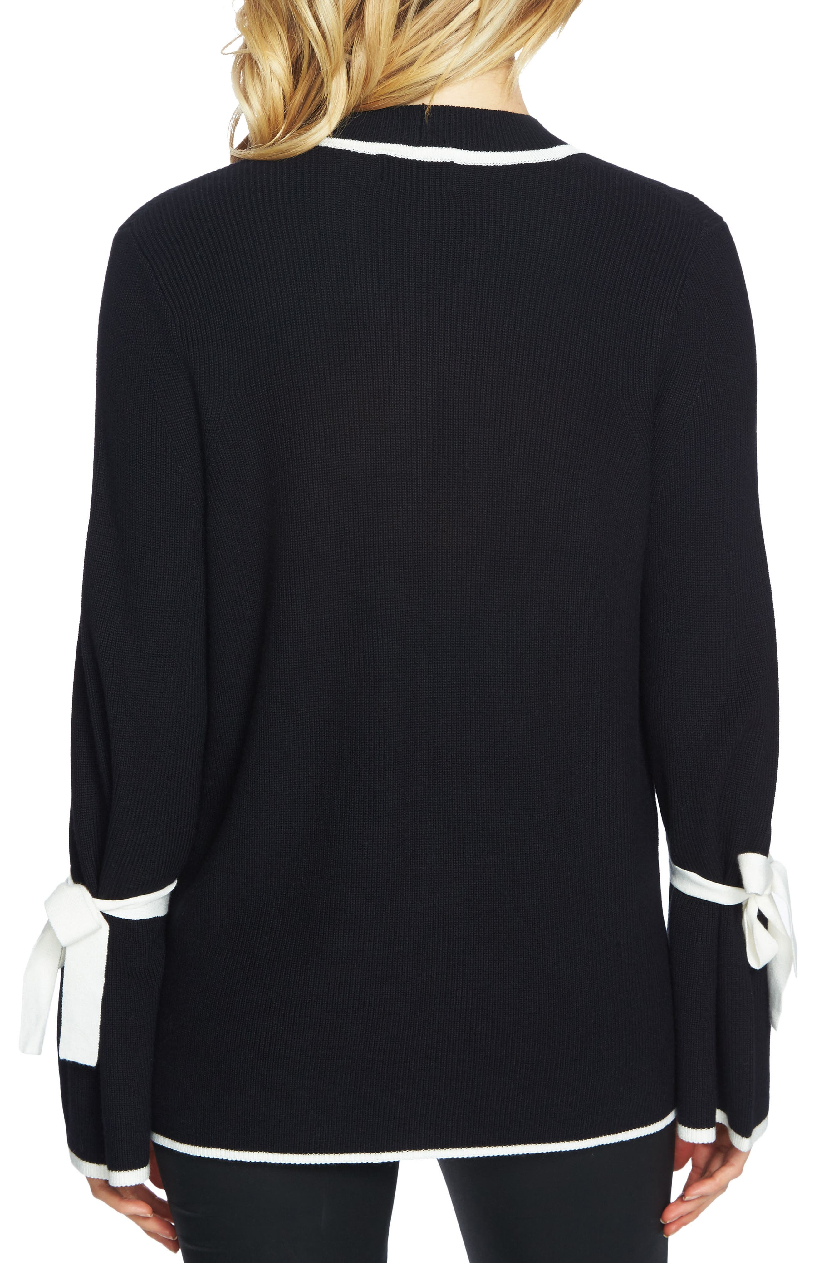 Tie Bell Sleeve Cardigan,                             Alternate thumbnail 2, color,                             Rich Black