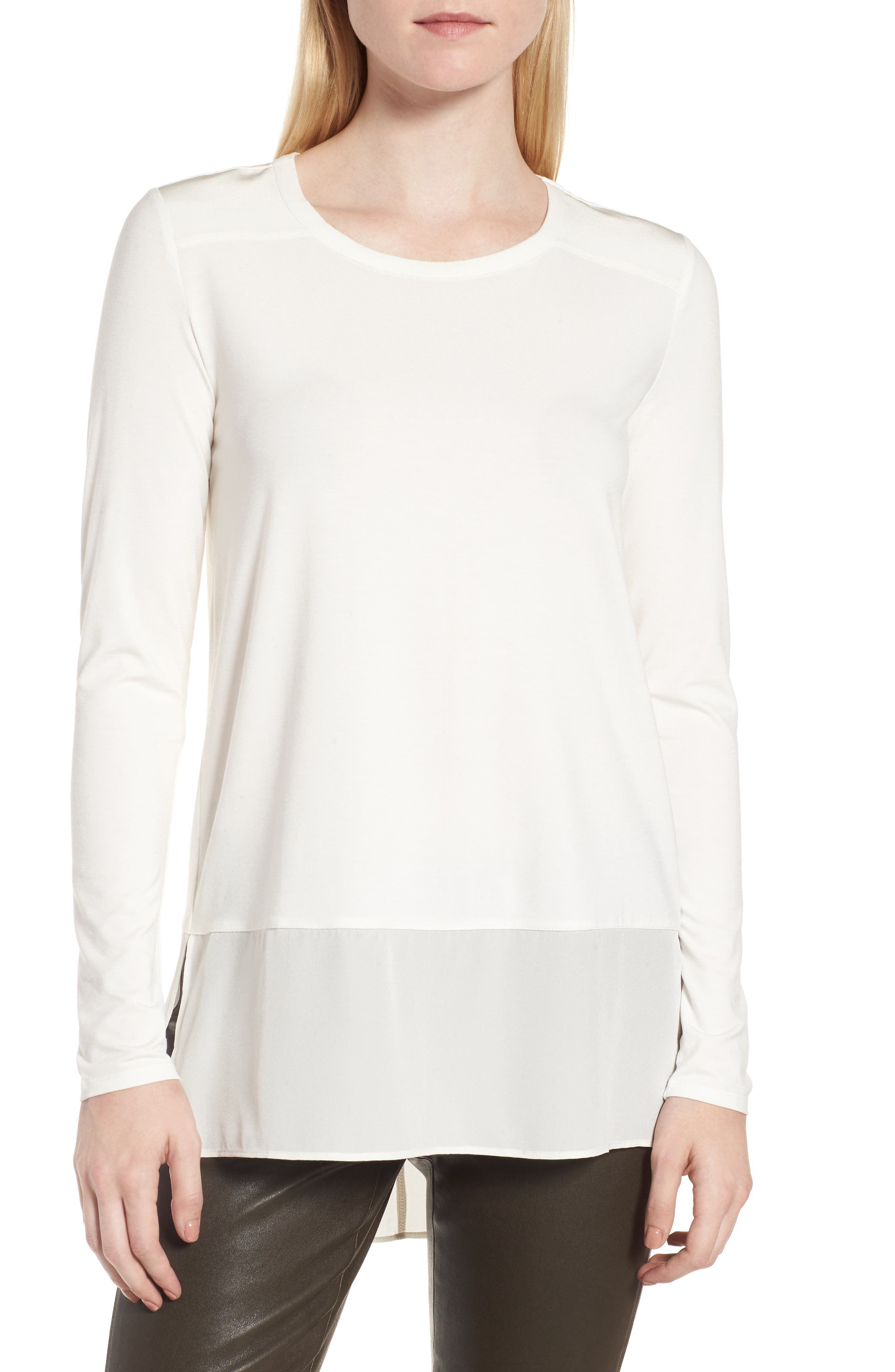Alternate Image 1 Selected - Nordstrom Signature Mix Media High/Low Tee
