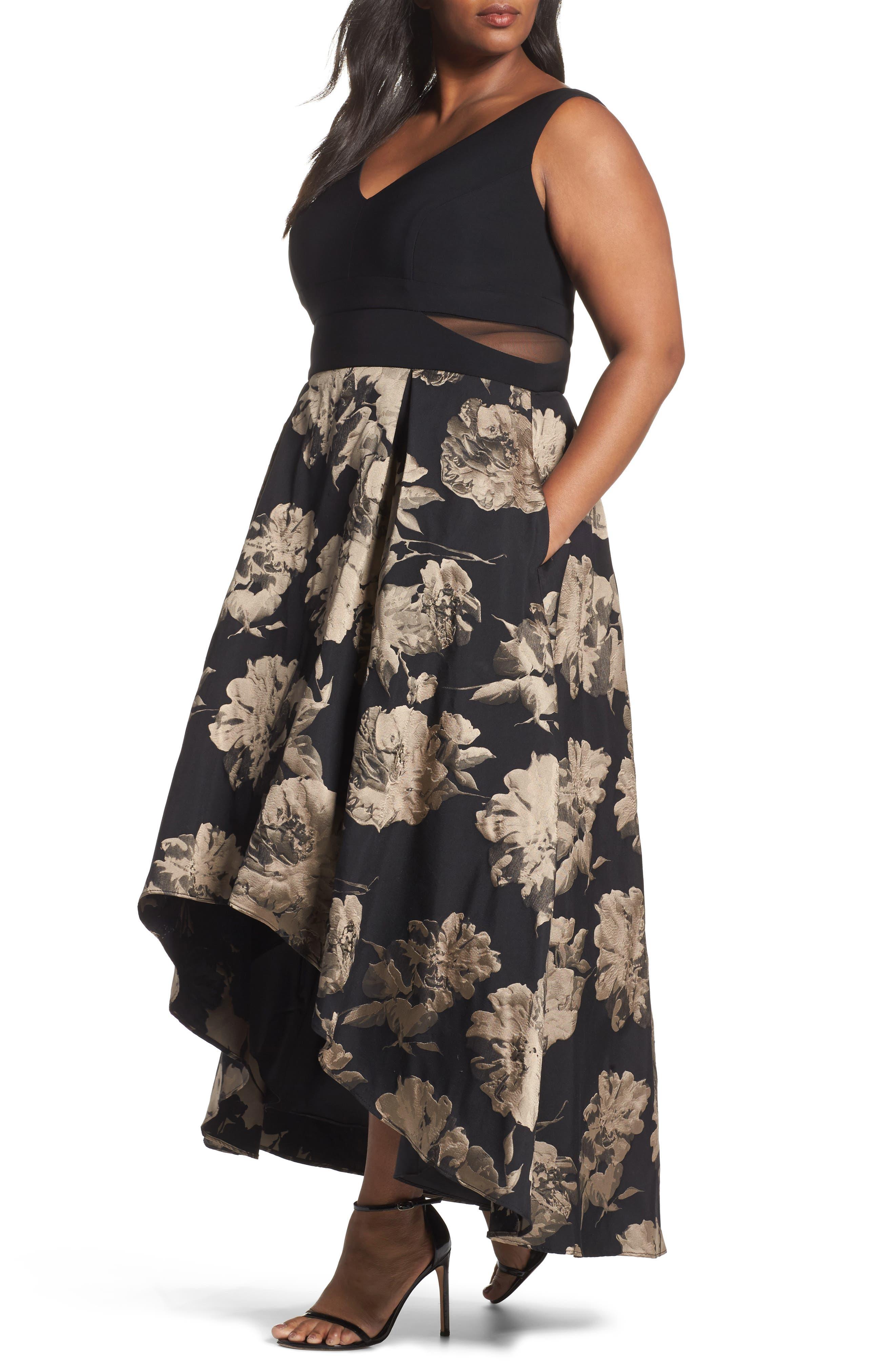 Mesh Waist High/Low Brocade Dress,                         Main,                         color, Black/ Champagne