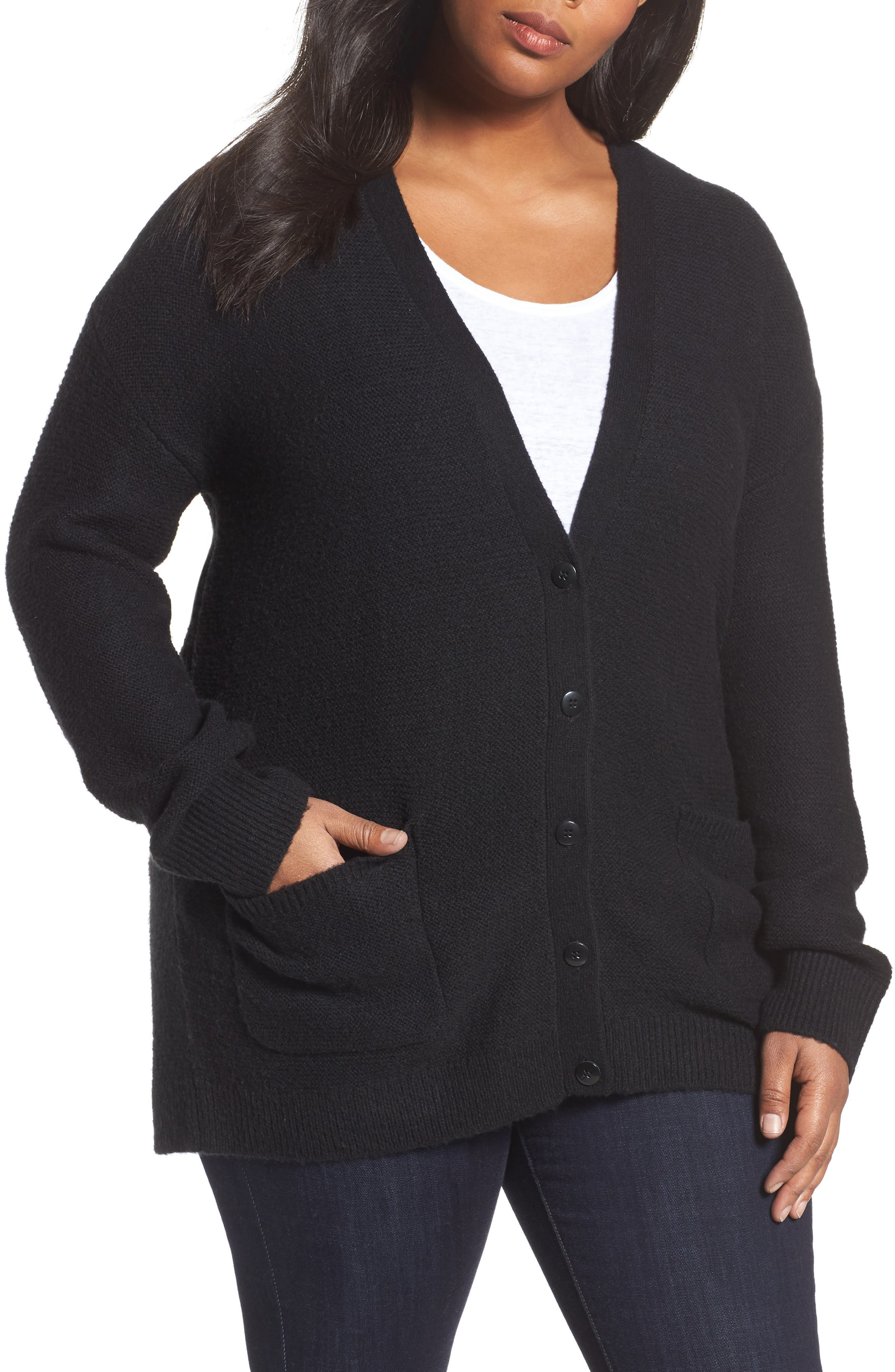 Caslon® Long V-Neck Wool Blend Cardigan (Plus Size)