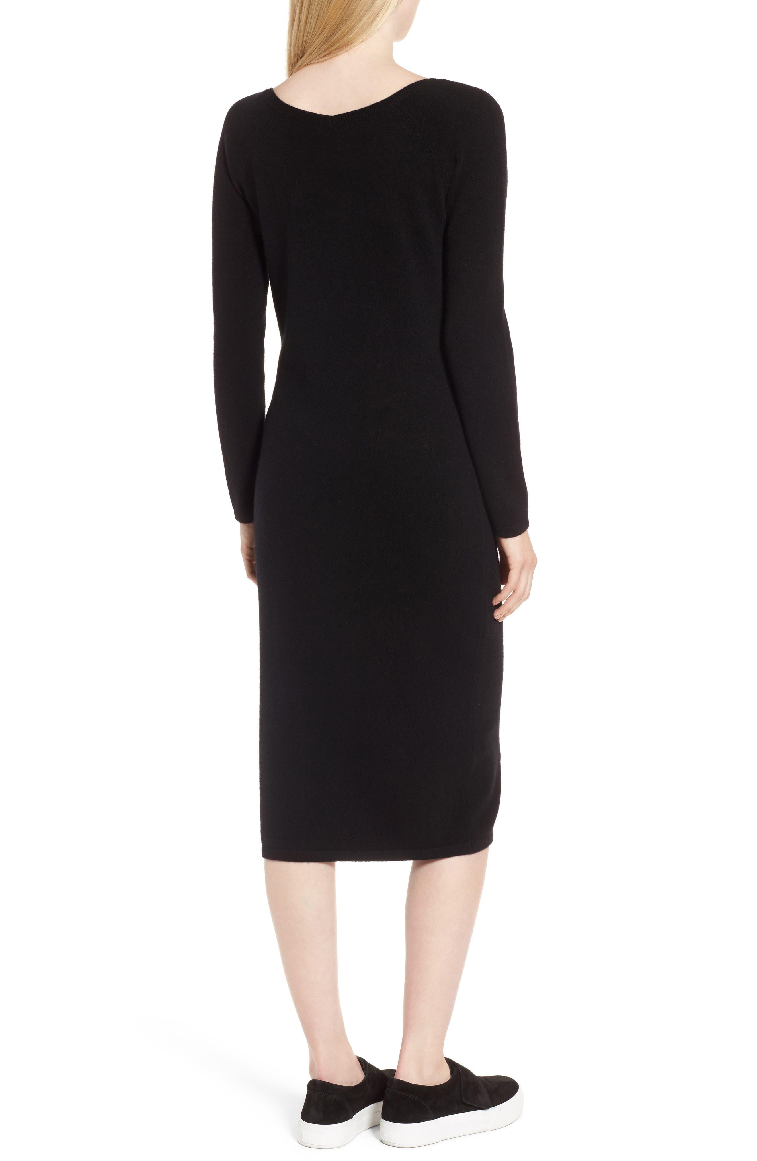 Cashmere Blend V-Neck Midi Dress,                             Alternate thumbnail 2, color,                             Black