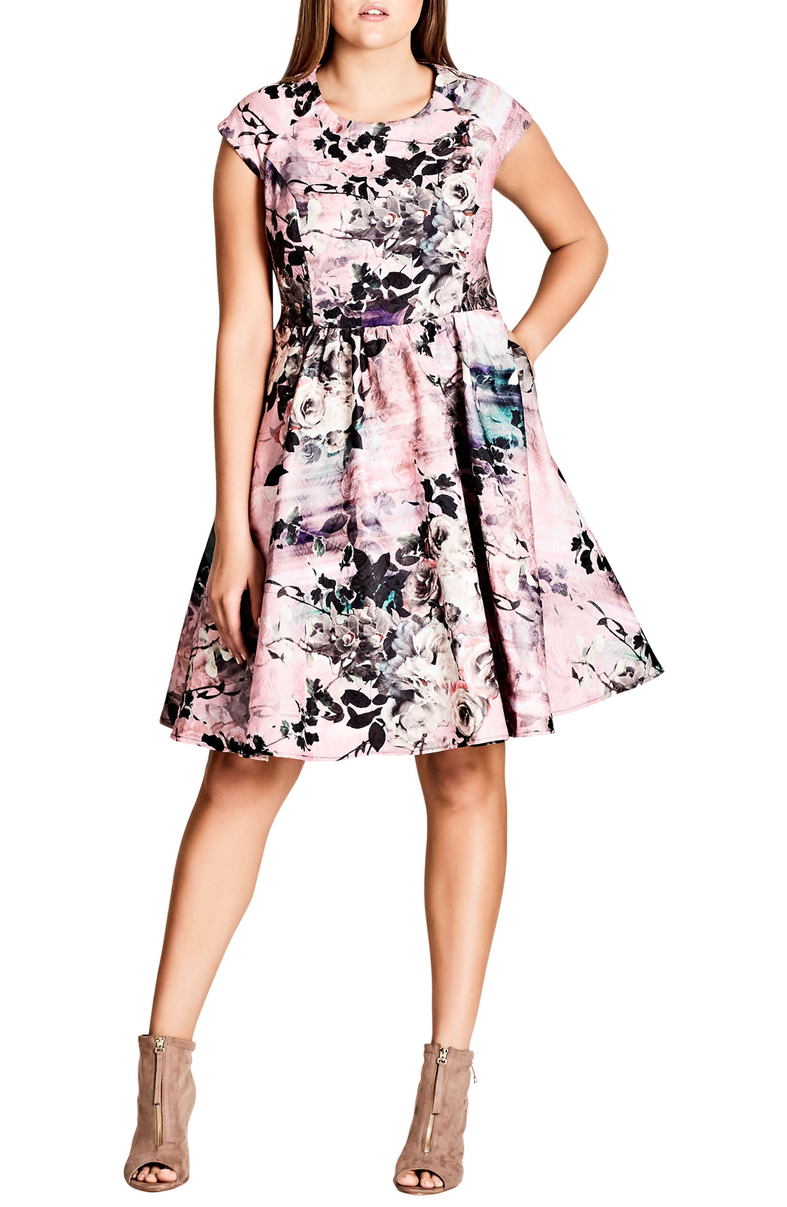 Divine Rose Fit & Flare Dress,                         Main,                         color, Divine Rose
