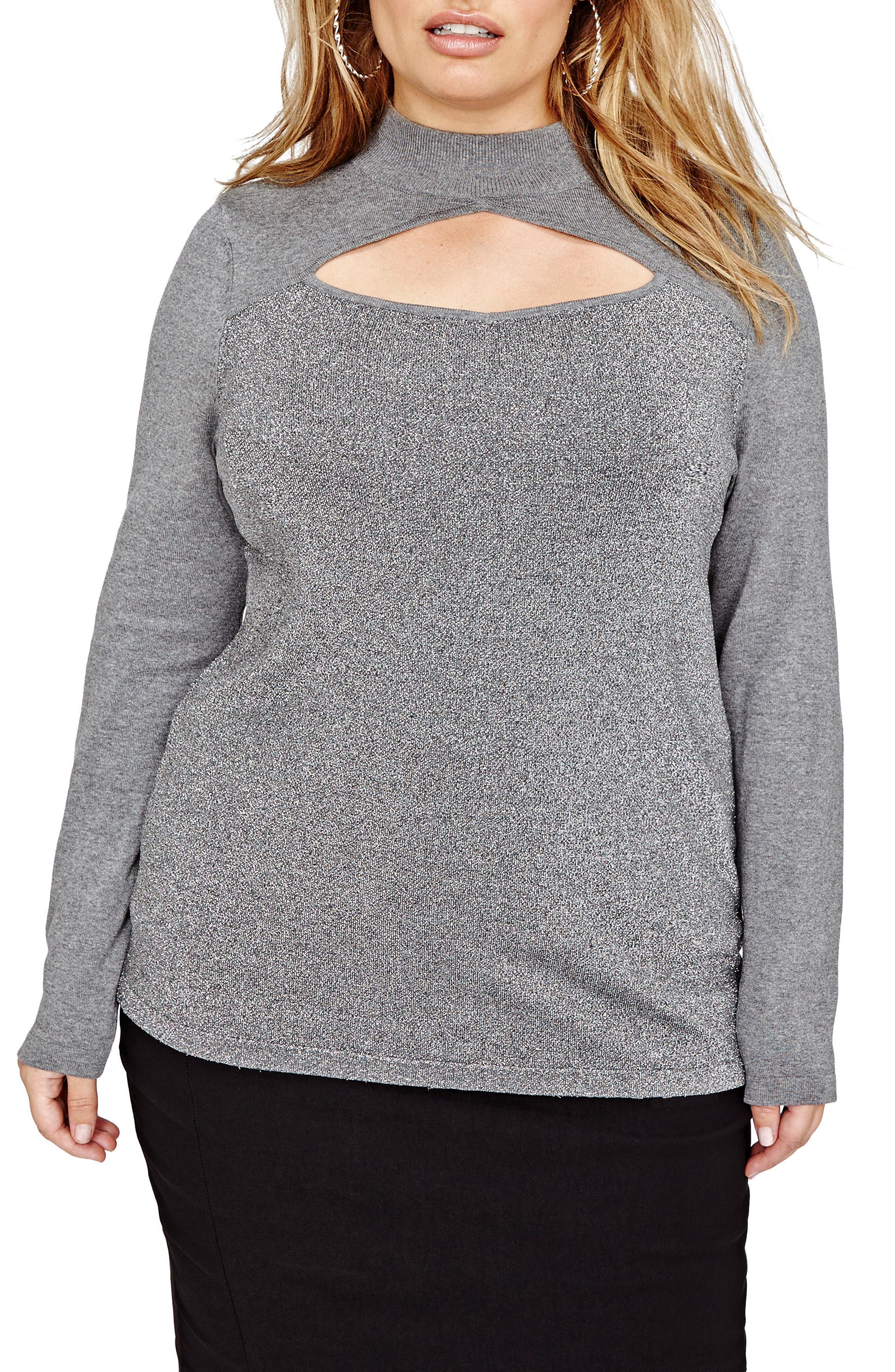 Michel Studio Peekaboo Cutout Sweater (Plus Size)