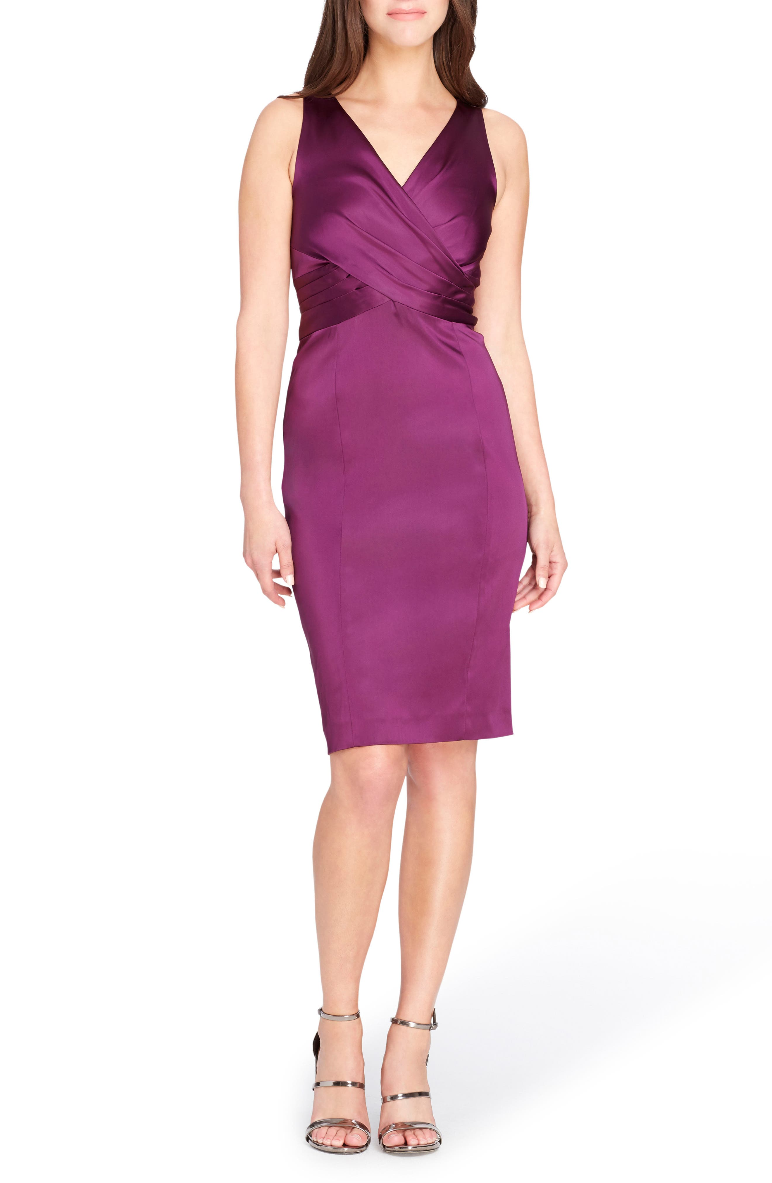 Pleated Body-Con Dress,                             Main thumbnail 1, color,                             Fig