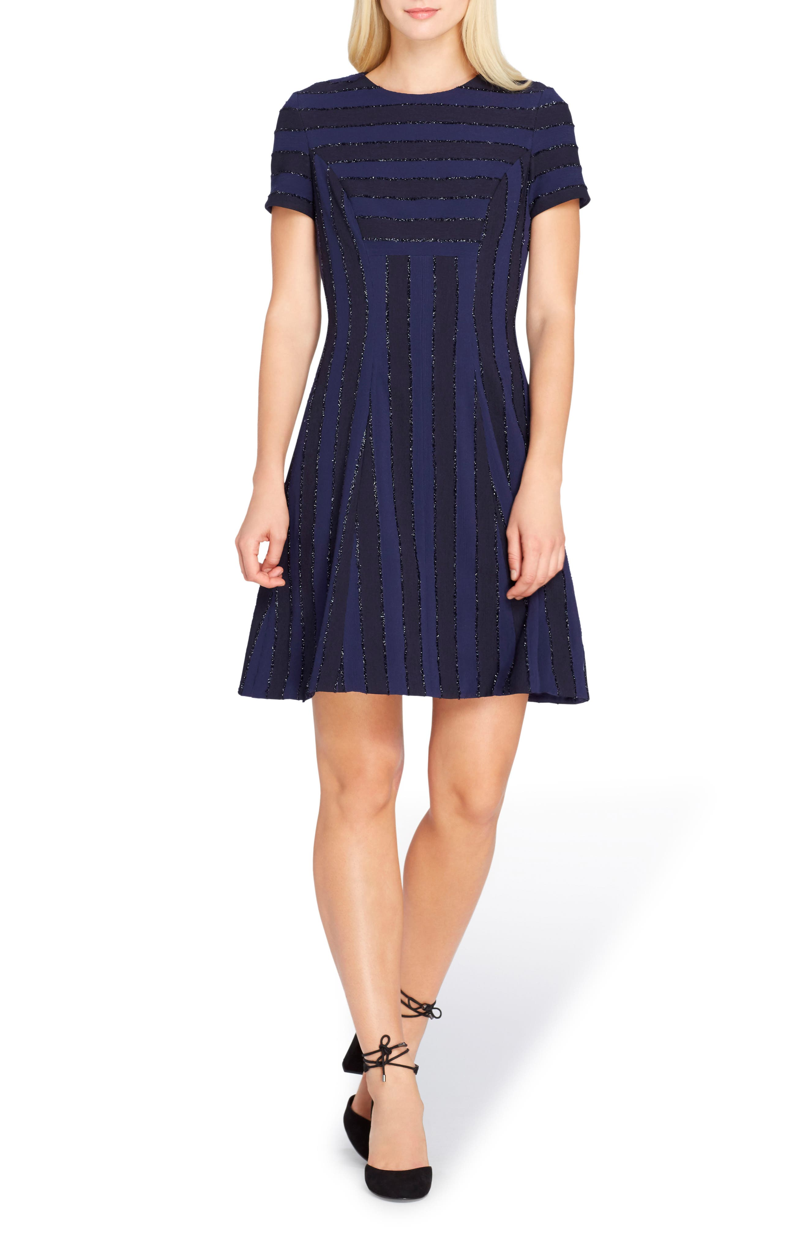 Metallic Stripe Fit & Flare Dress,                         Main,                         color, Navy