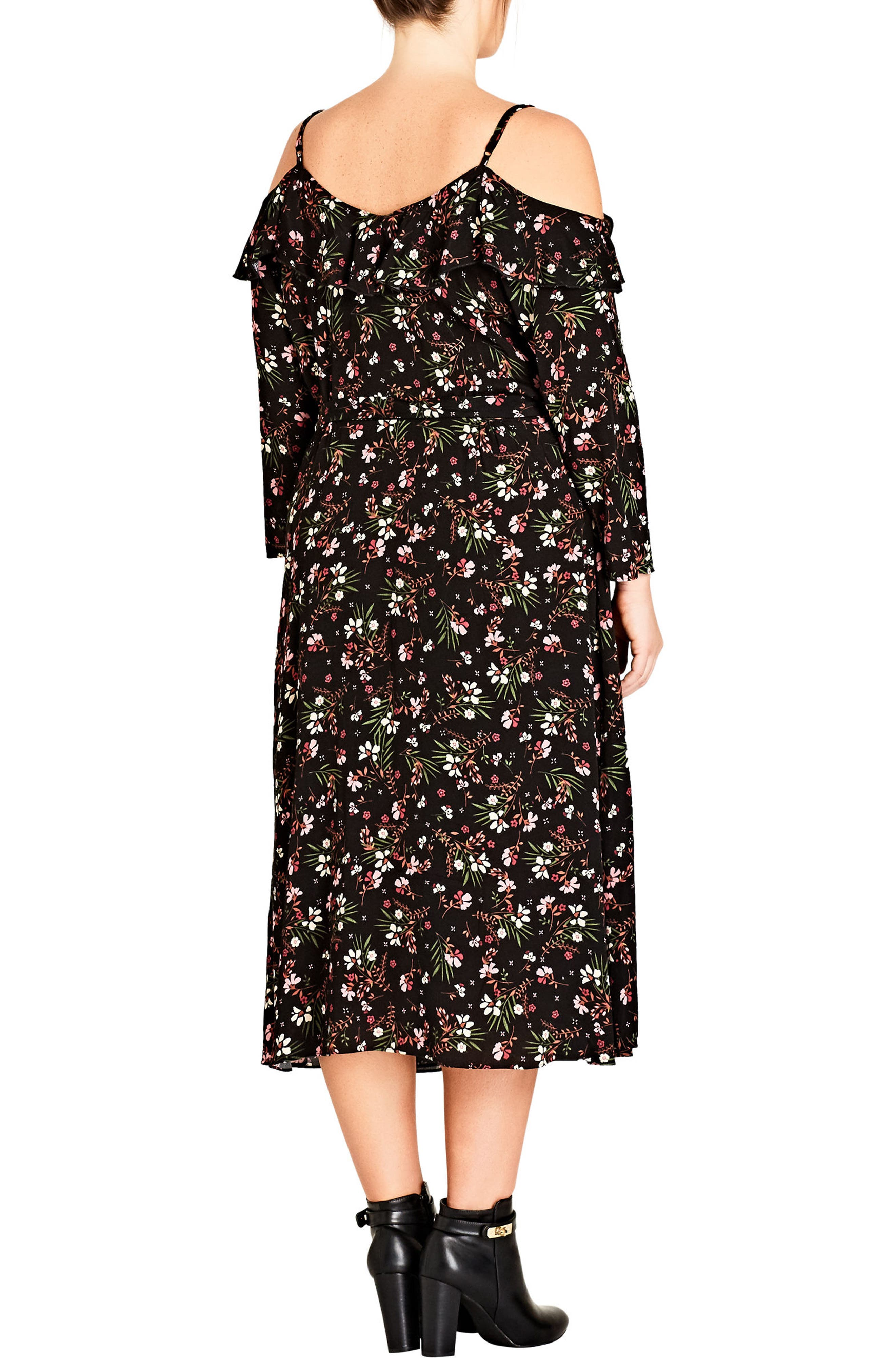 Pretty Floral Cold Shoulder Wrap Dress,                             Alternate thumbnail 2, color,                             Pretty Floral