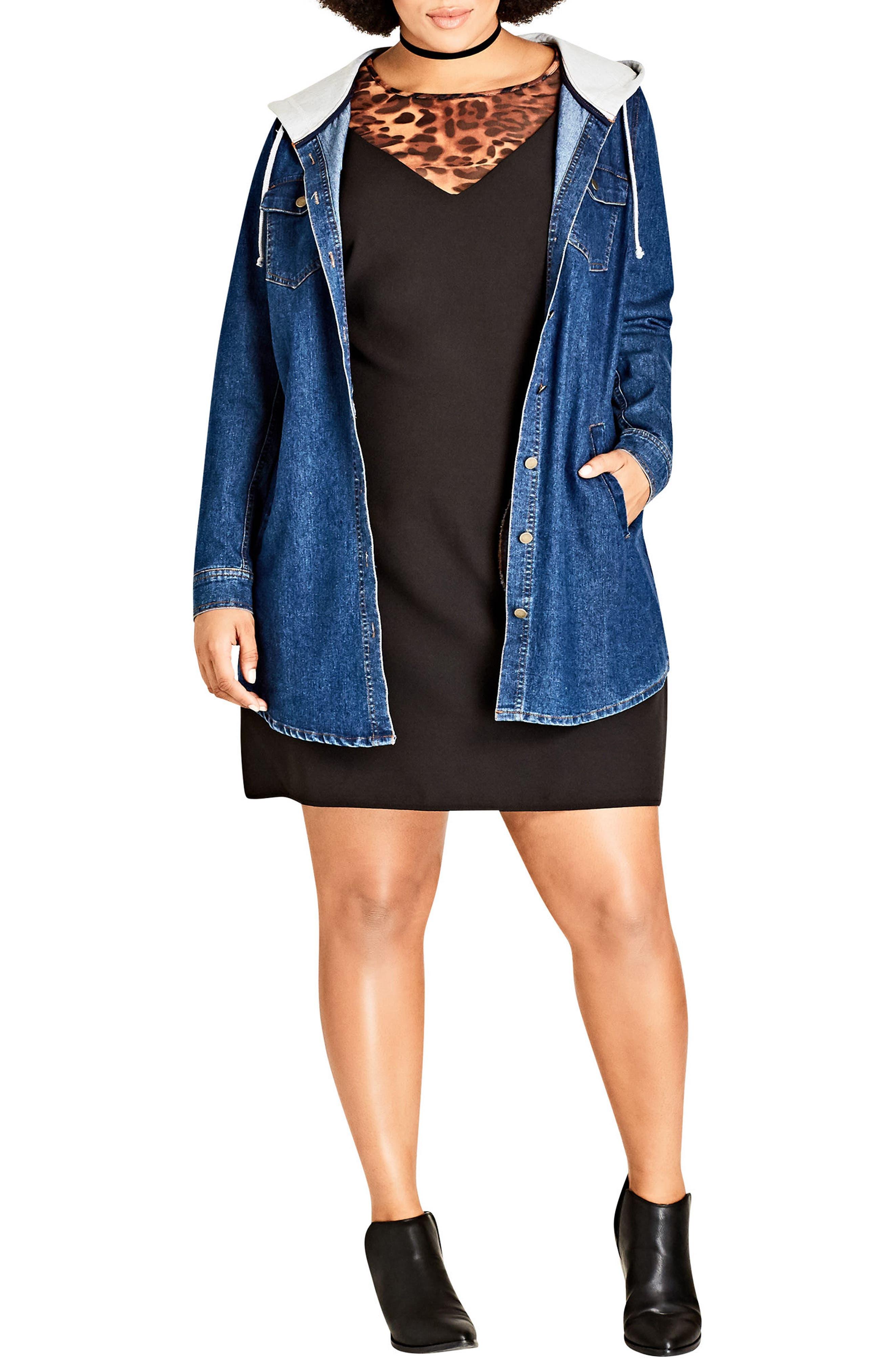 Alternate Image 4  - City Chic Denim Vibe Hooded Jacket (Plus Size)