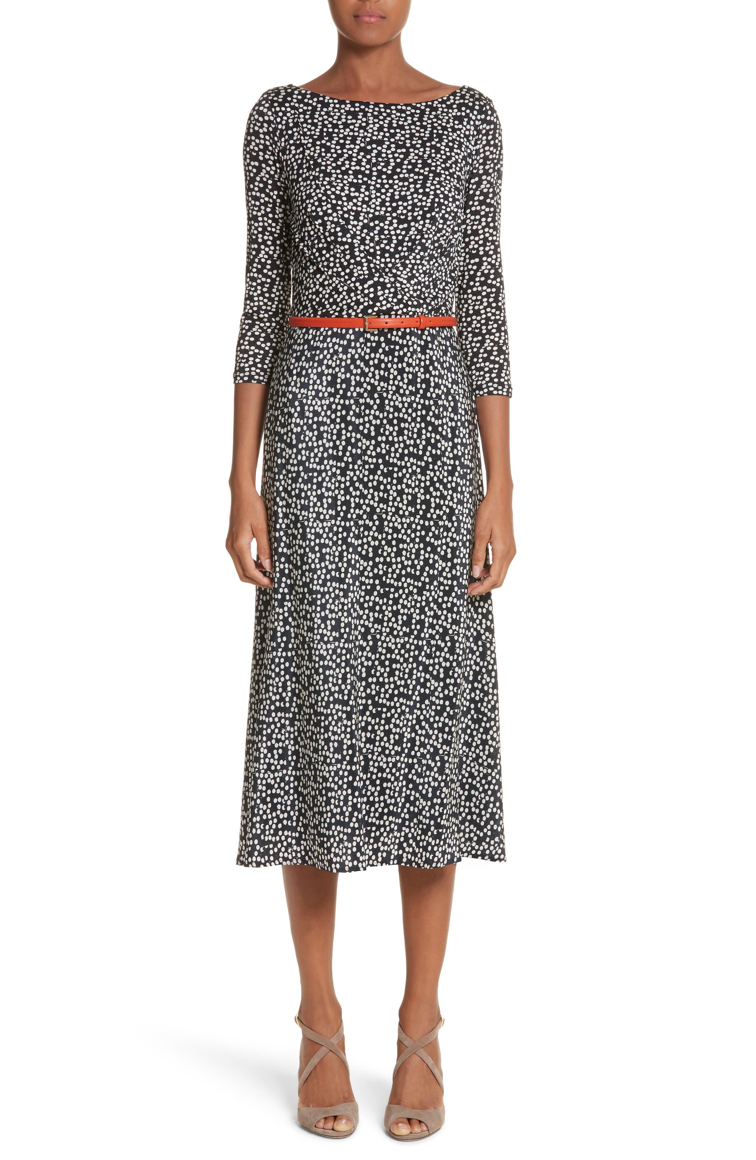 Peter Dot Print Midi Dress,                         Main,                         color, Black