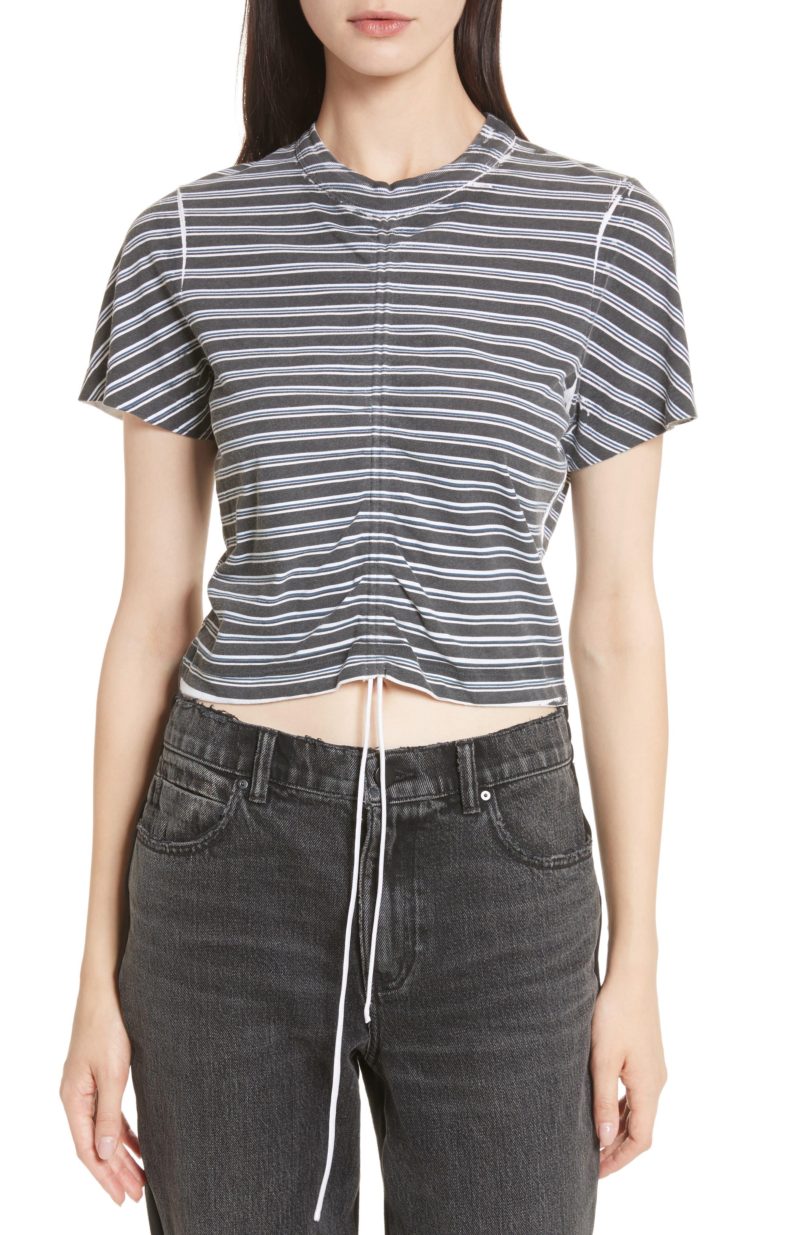 Ruched Stripe Cotton Tee,                             Main thumbnail 1, color,                             Black/ White/ Indigo Stripe
