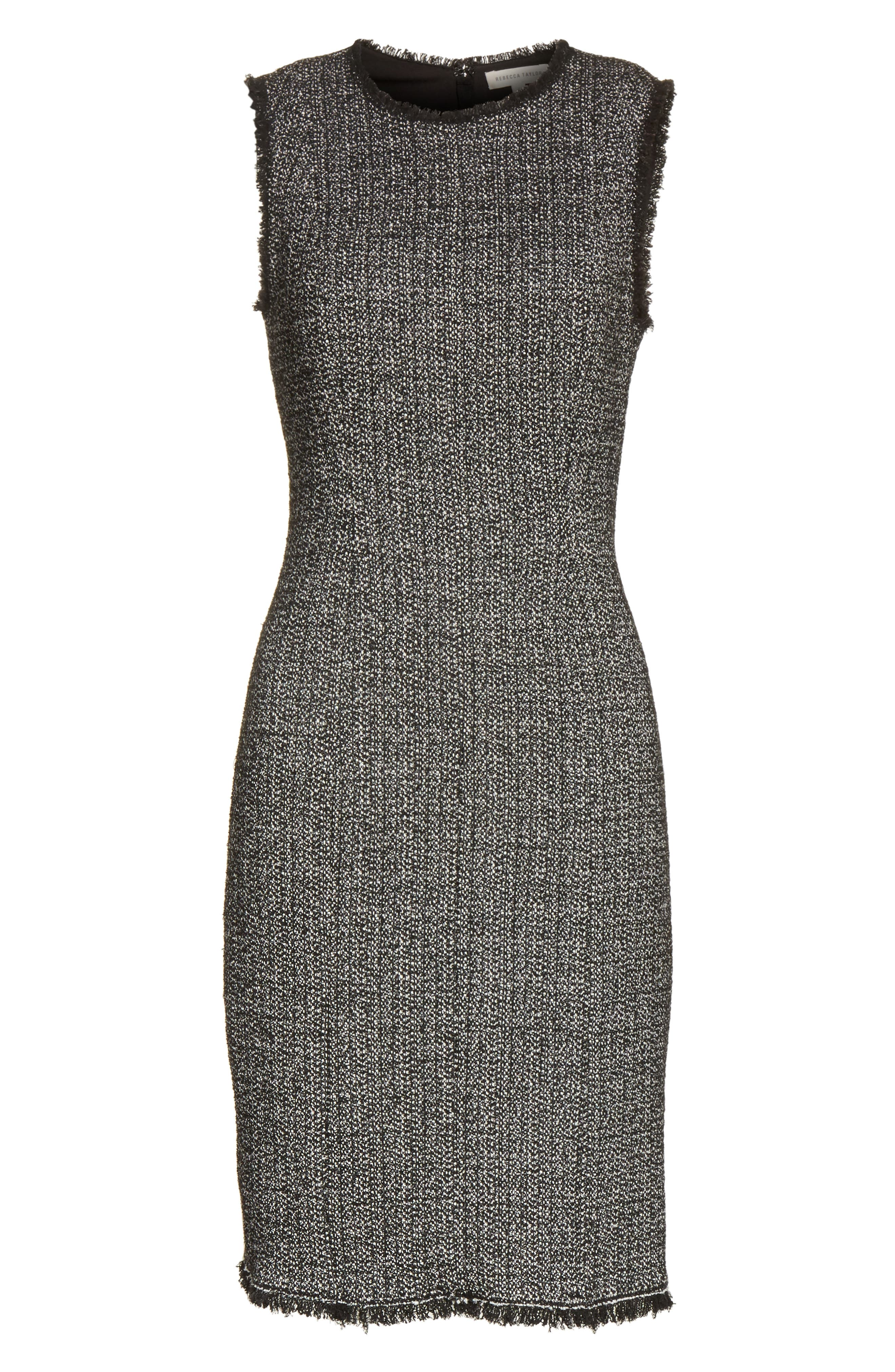 Tweed Sheath Dress,                             Alternate thumbnail 6, color,                             Black Combo