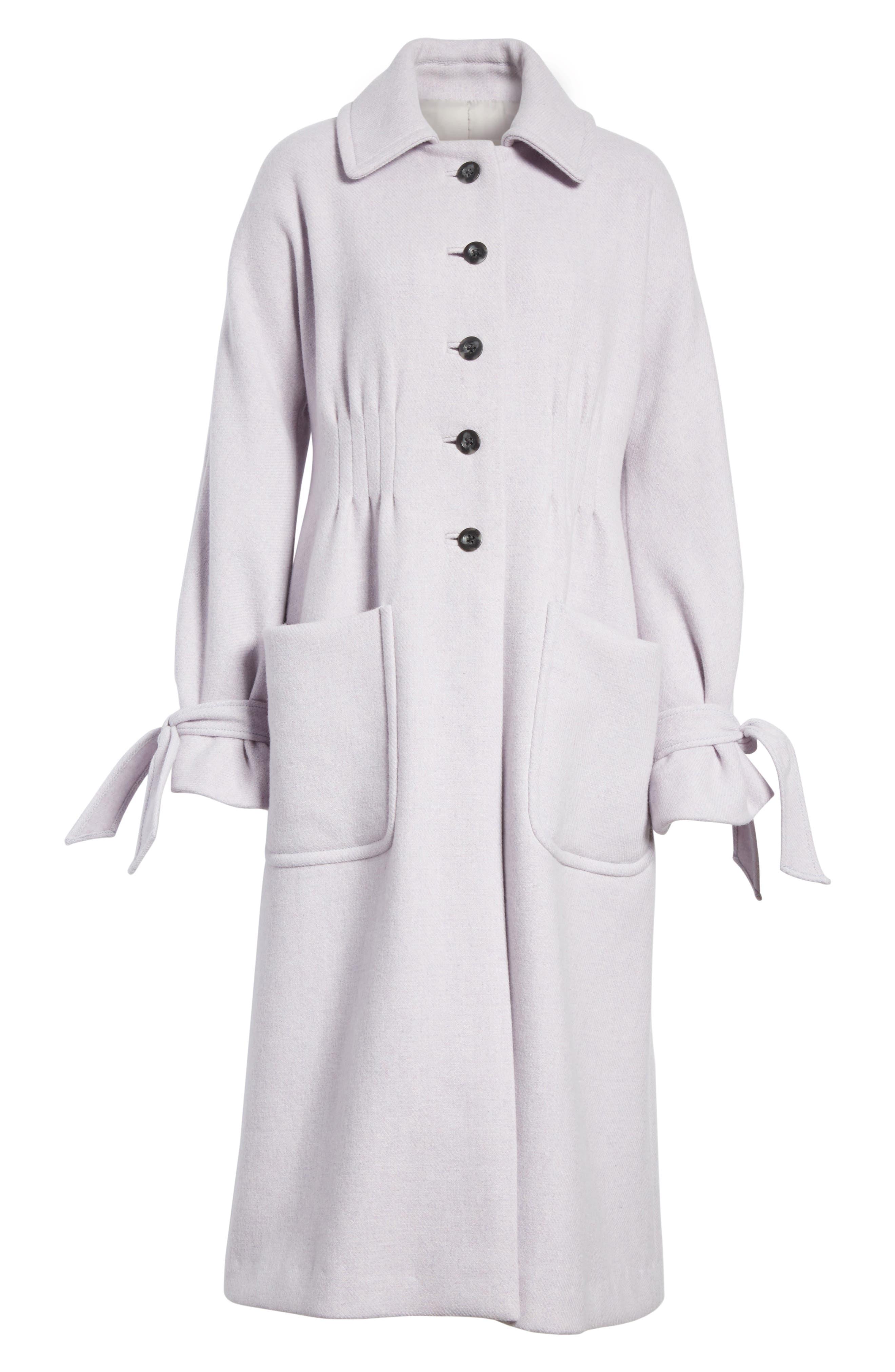 Wool Blend Melton Coat,                             Alternate thumbnail 6, color,                             Dusty Lavender