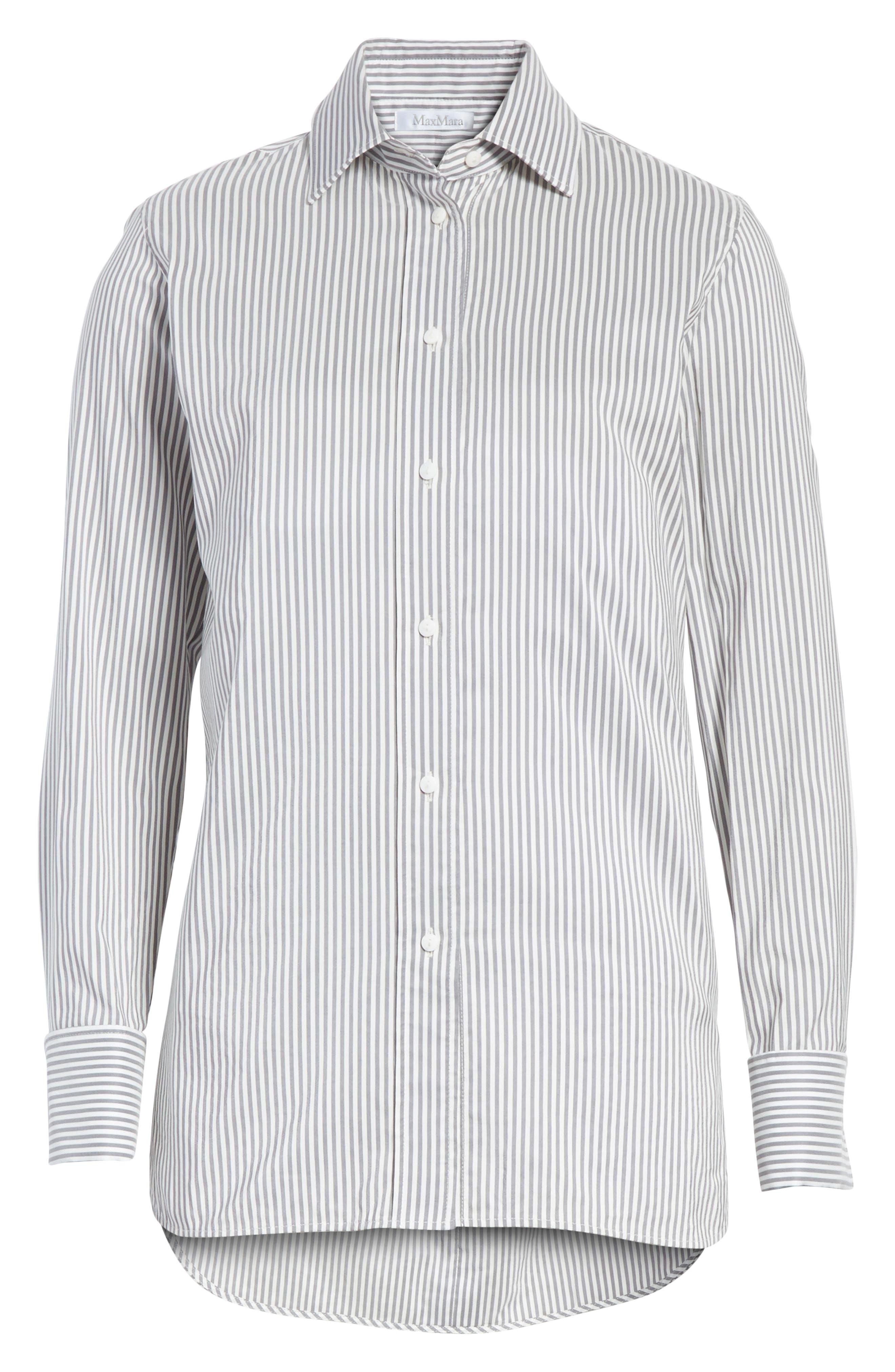 Filato Stripe Cotton & Silk Shirt,                             Alternate thumbnail 6, color,                             Medium Grey