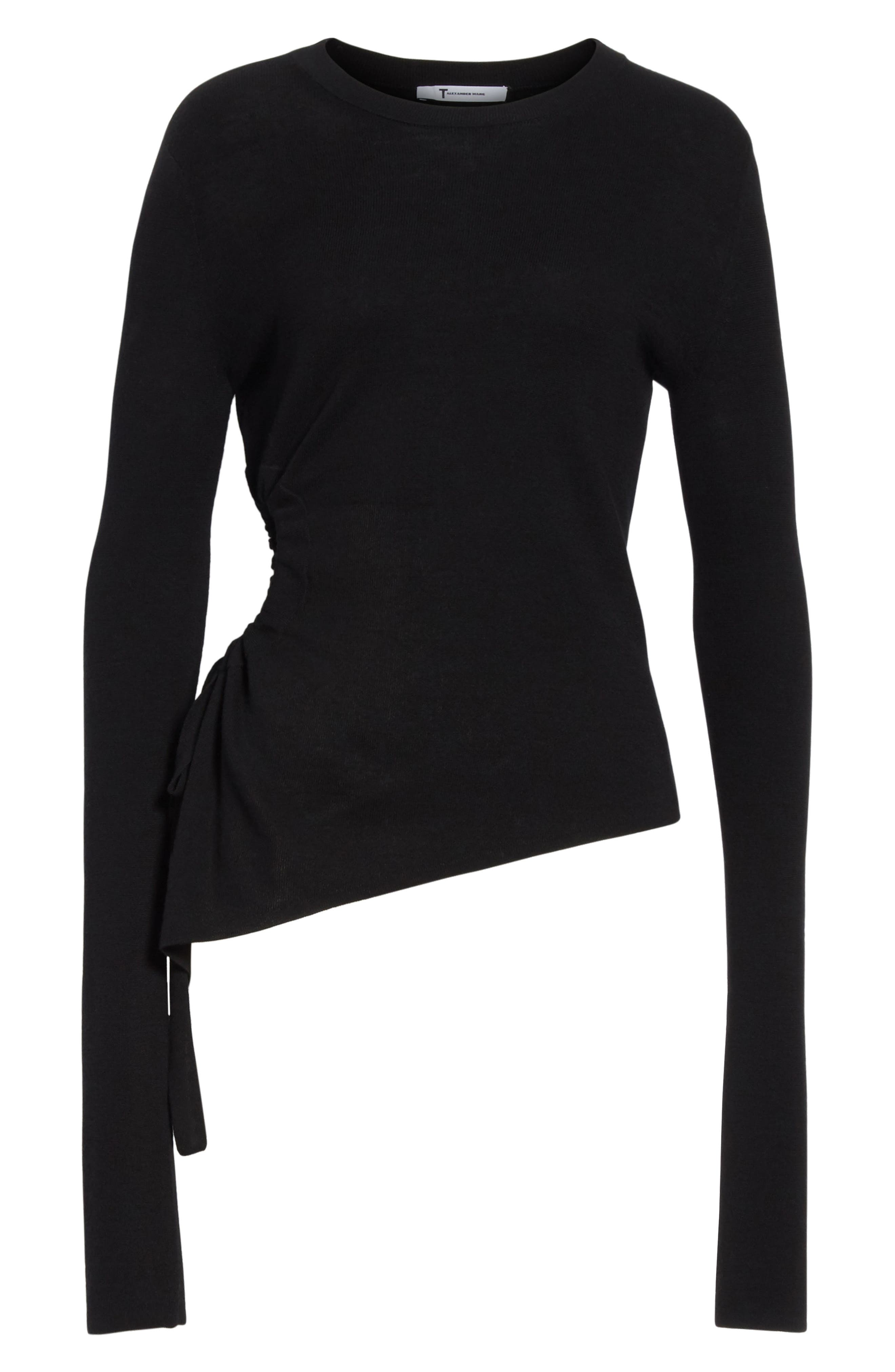 T by Alexander Side Cutout Ruched Merino Wool Sweater,                             Alternate thumbnail 6, color,                             Black