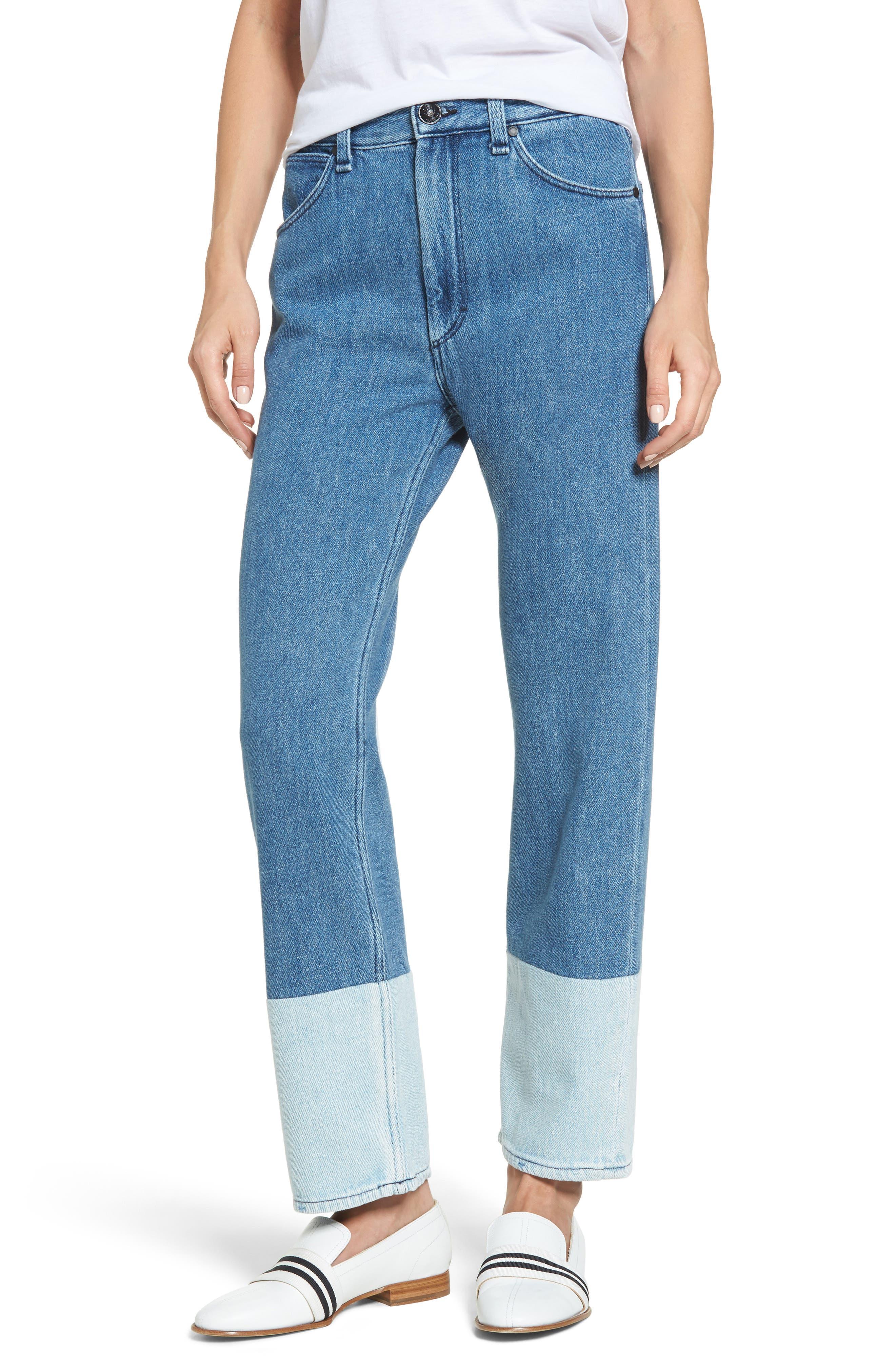 Main Image - rag & bone/JEAN High Waist Straight Leg Jeans (Indigo)