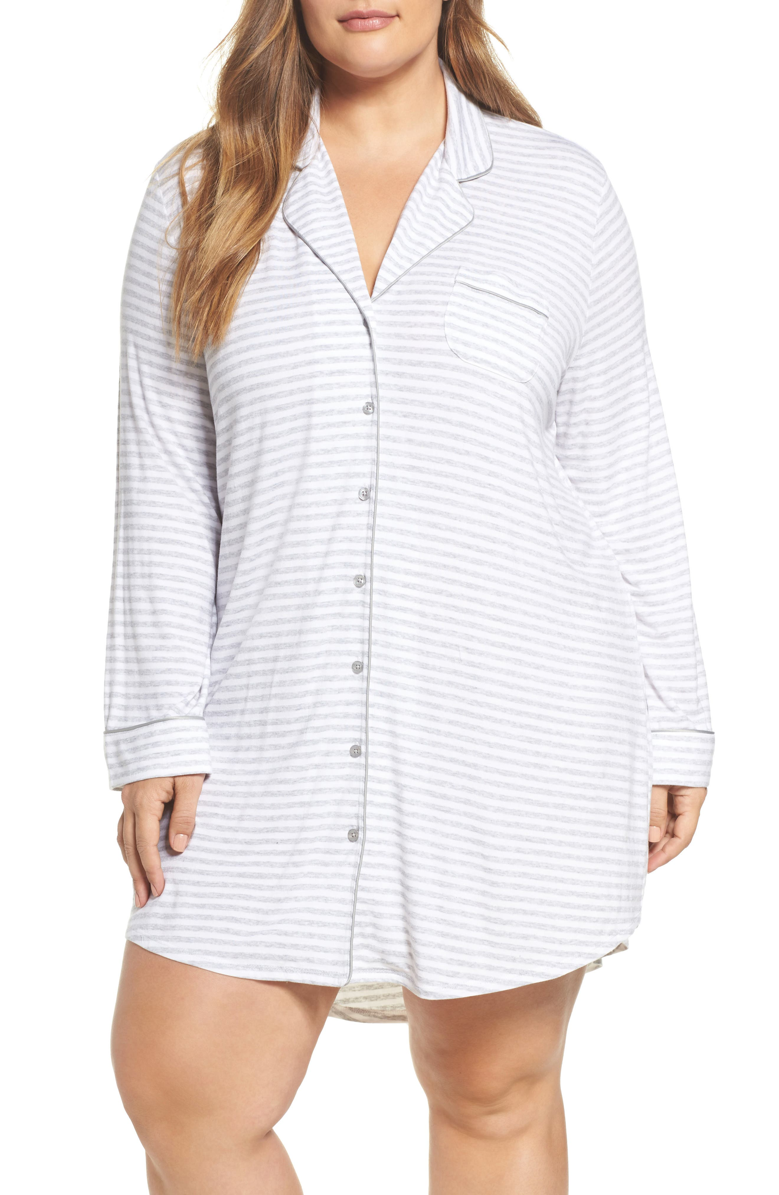'Moonlight' Nightshirt,                         Main,                         color, Grey Pearl Heather Even Stripe