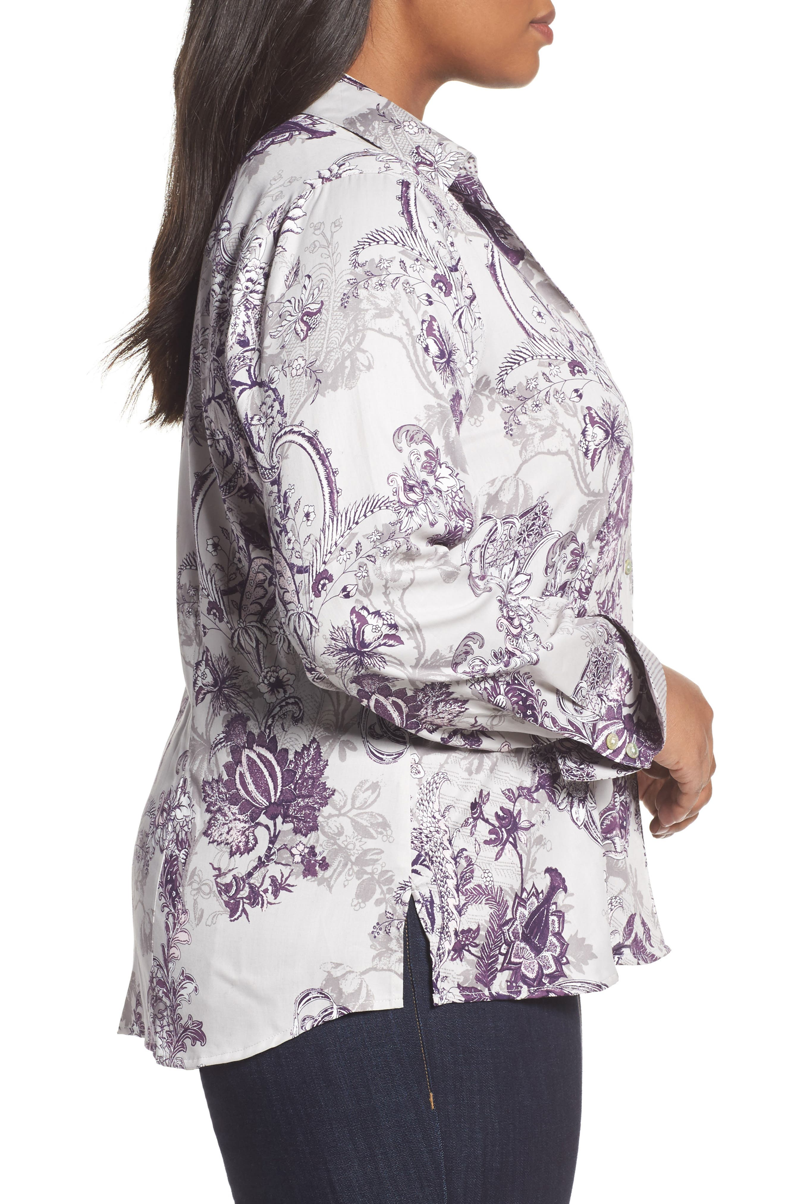 Alternate Image 3  - Foxcroft Floral Tapestry Shirt (Plus Size)