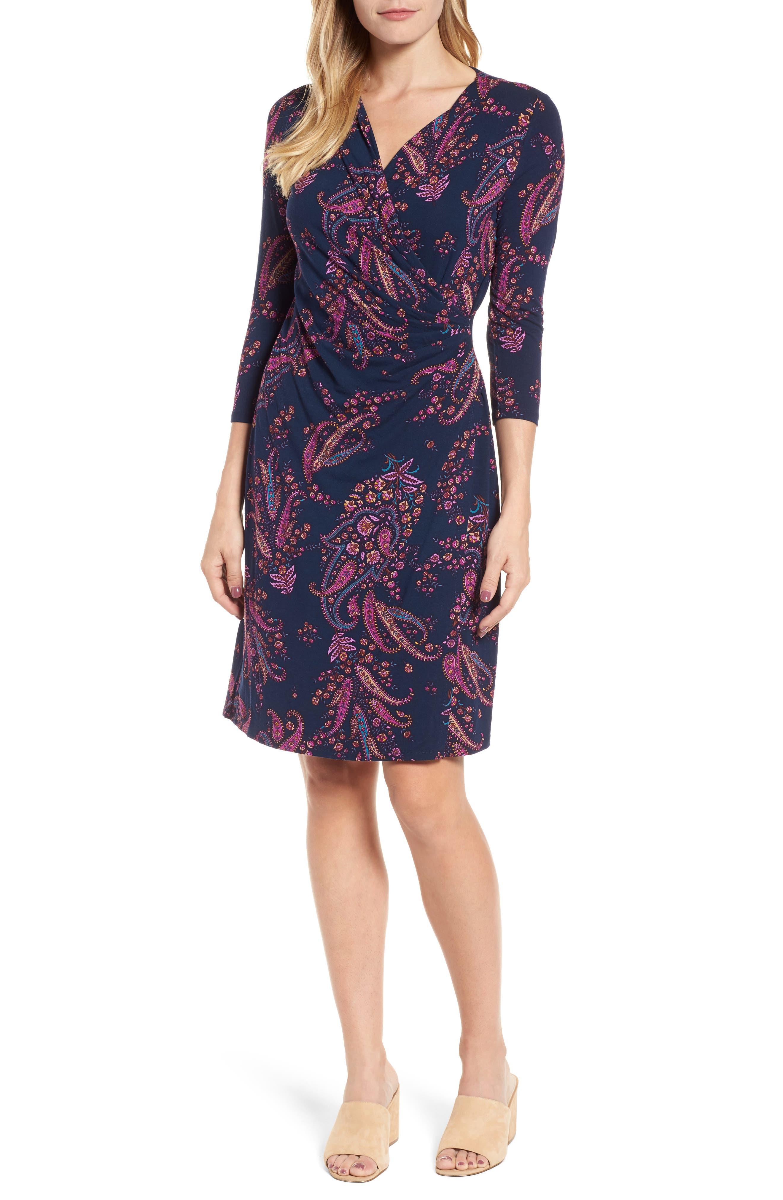 Paisley Daze Faux Wrap Dress,                             Main thumbnail 1, color,                             Ocean Deep