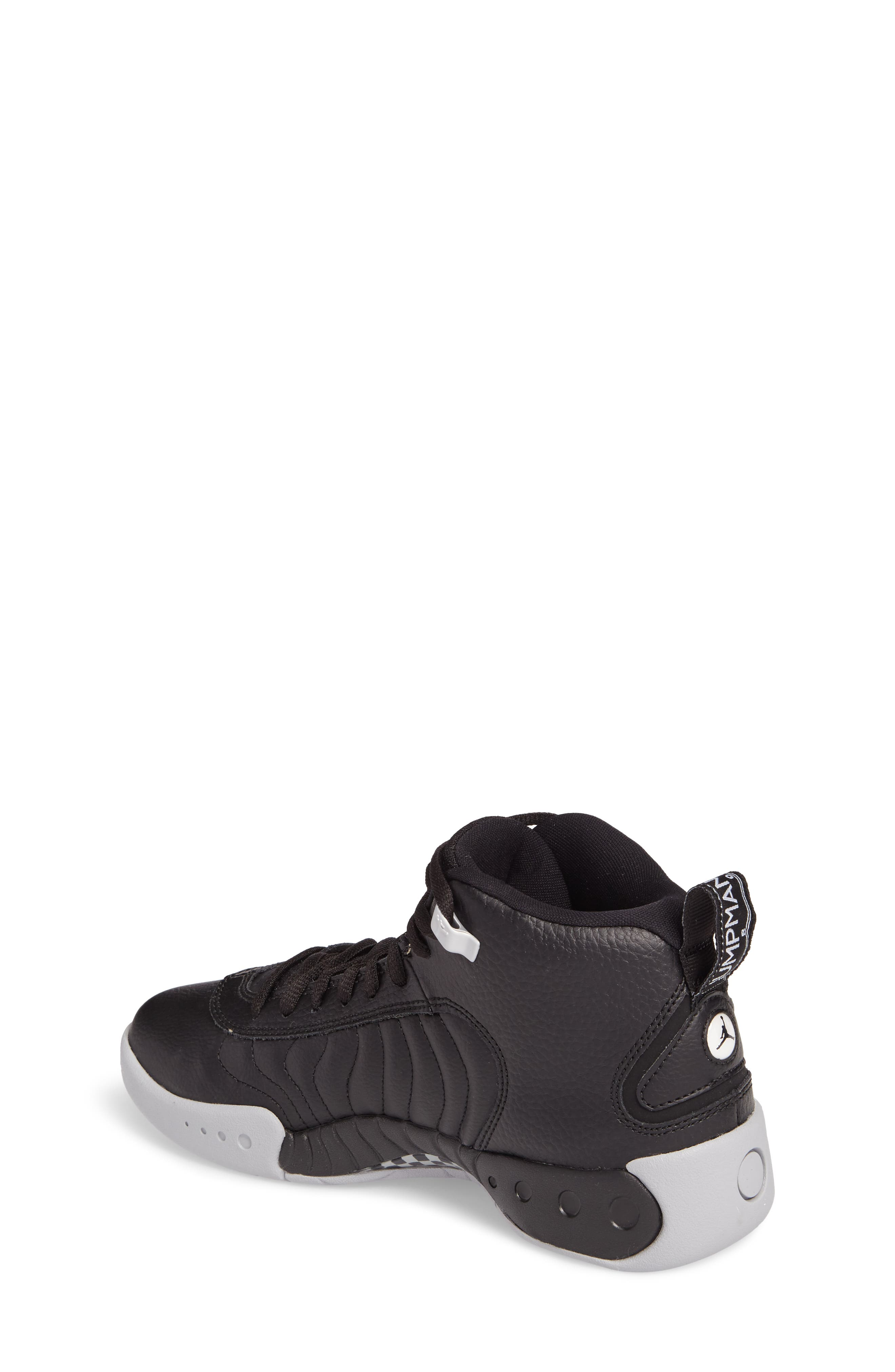 Jumpman Pro BG Mid Top Sneaker,                             Alternate thumbnail 2, color,                             Black/ White-Wolf Grey