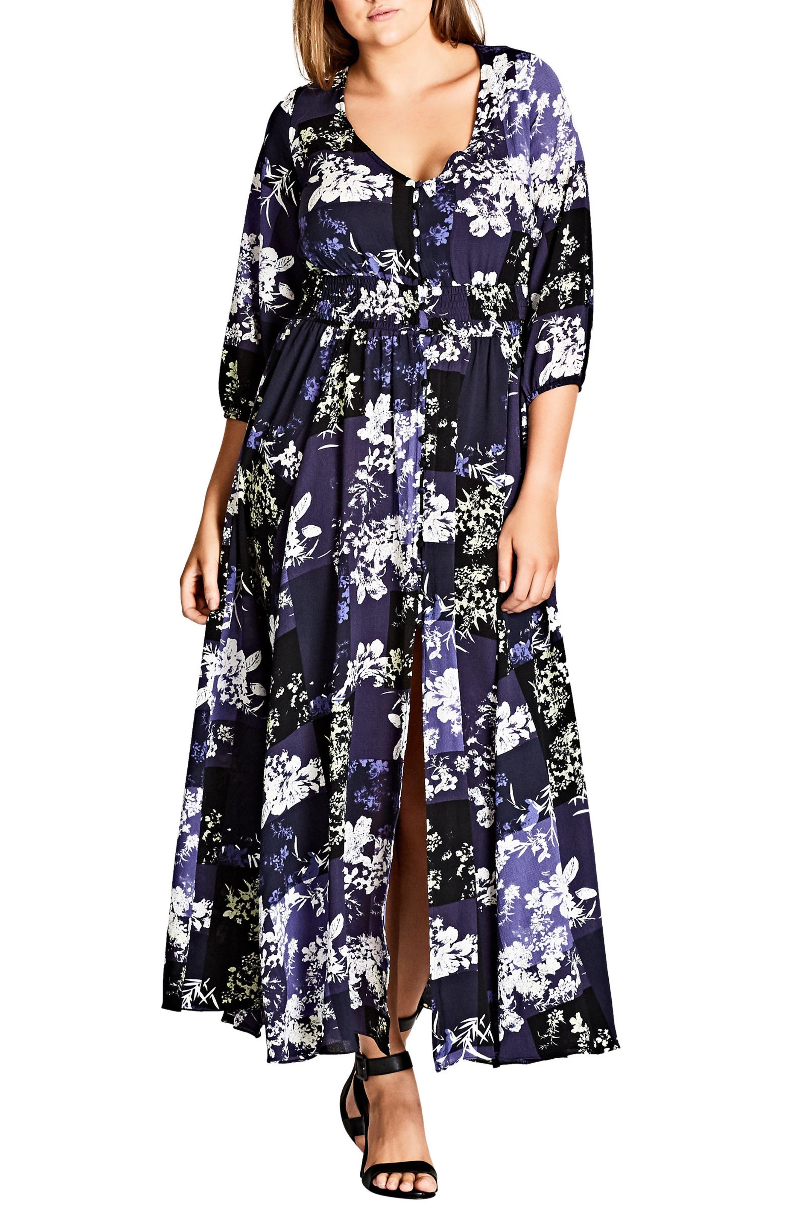 Kiku Print Maxi Dress,                         Main,                         color, Blue Indigo