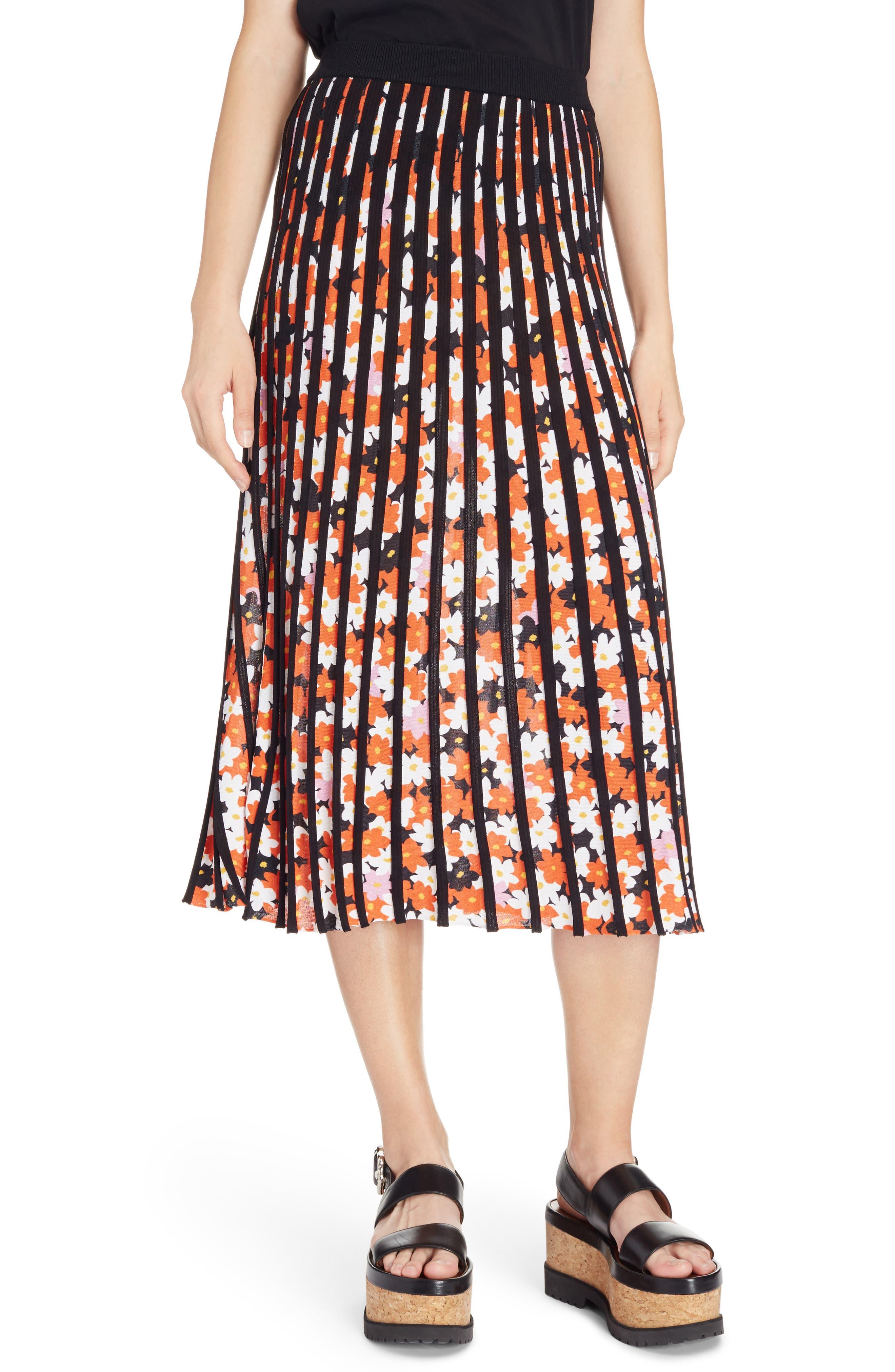 Knit Pleated Midi Skirt,                         Main,                         color, Black
