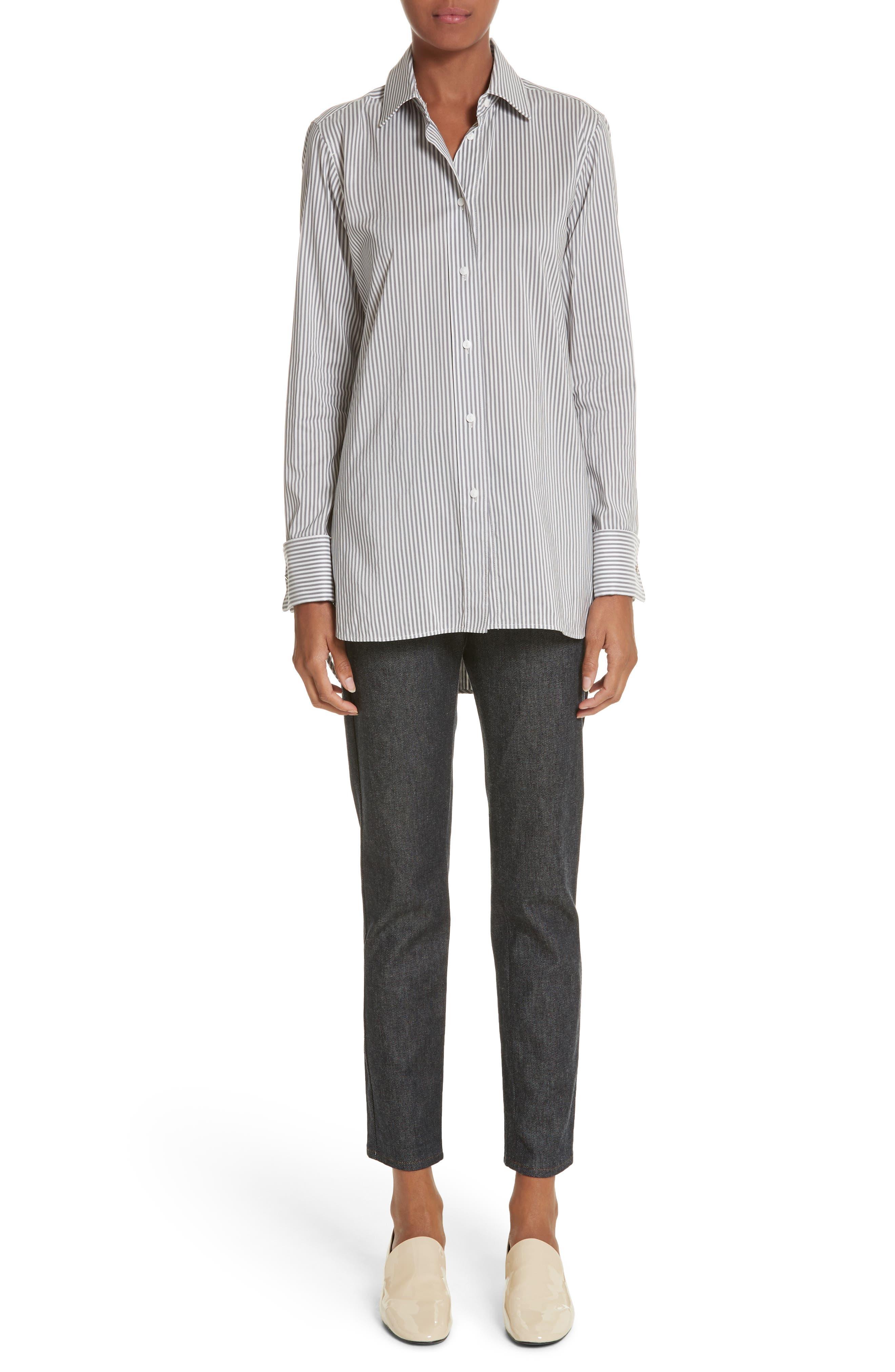 Filato Stripe Cotton & Silk Shirt,                             Alternate thumbnail 7, color,                             Medium Grey