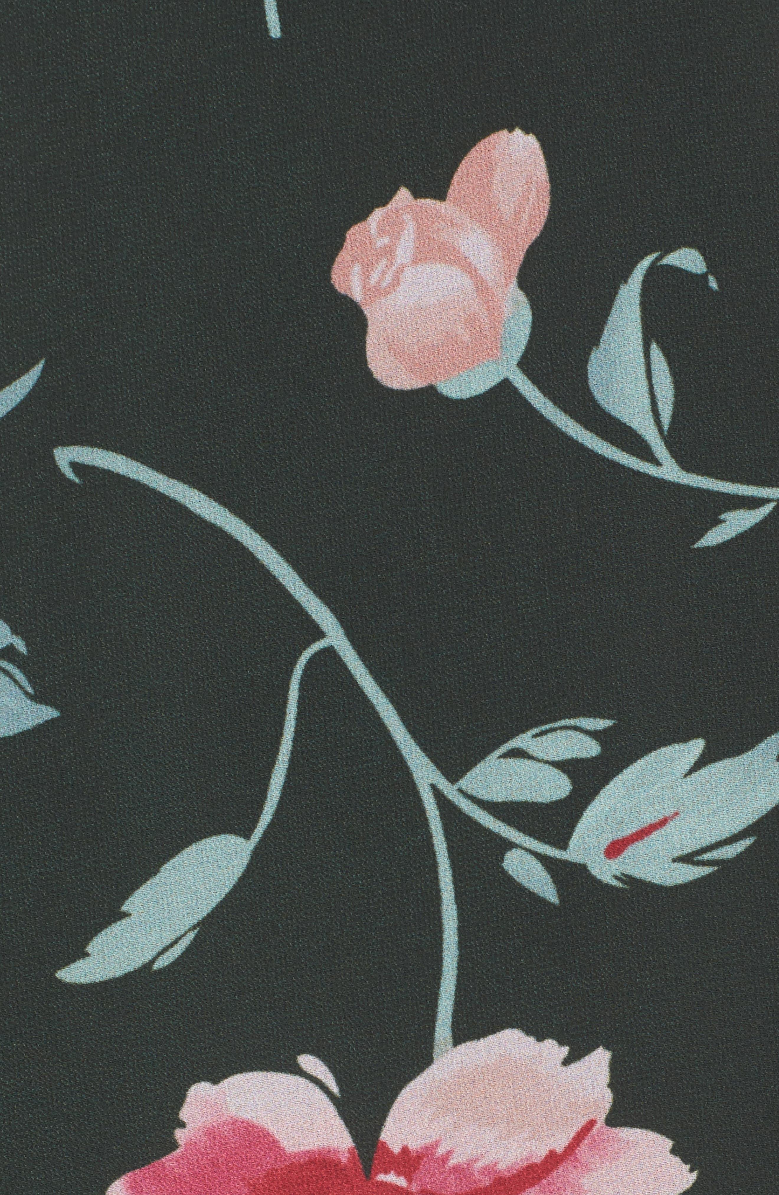 Plaza Kimono Maxi Dress,                             Alternate thumbnail 5, color,                             Evergreen Floral