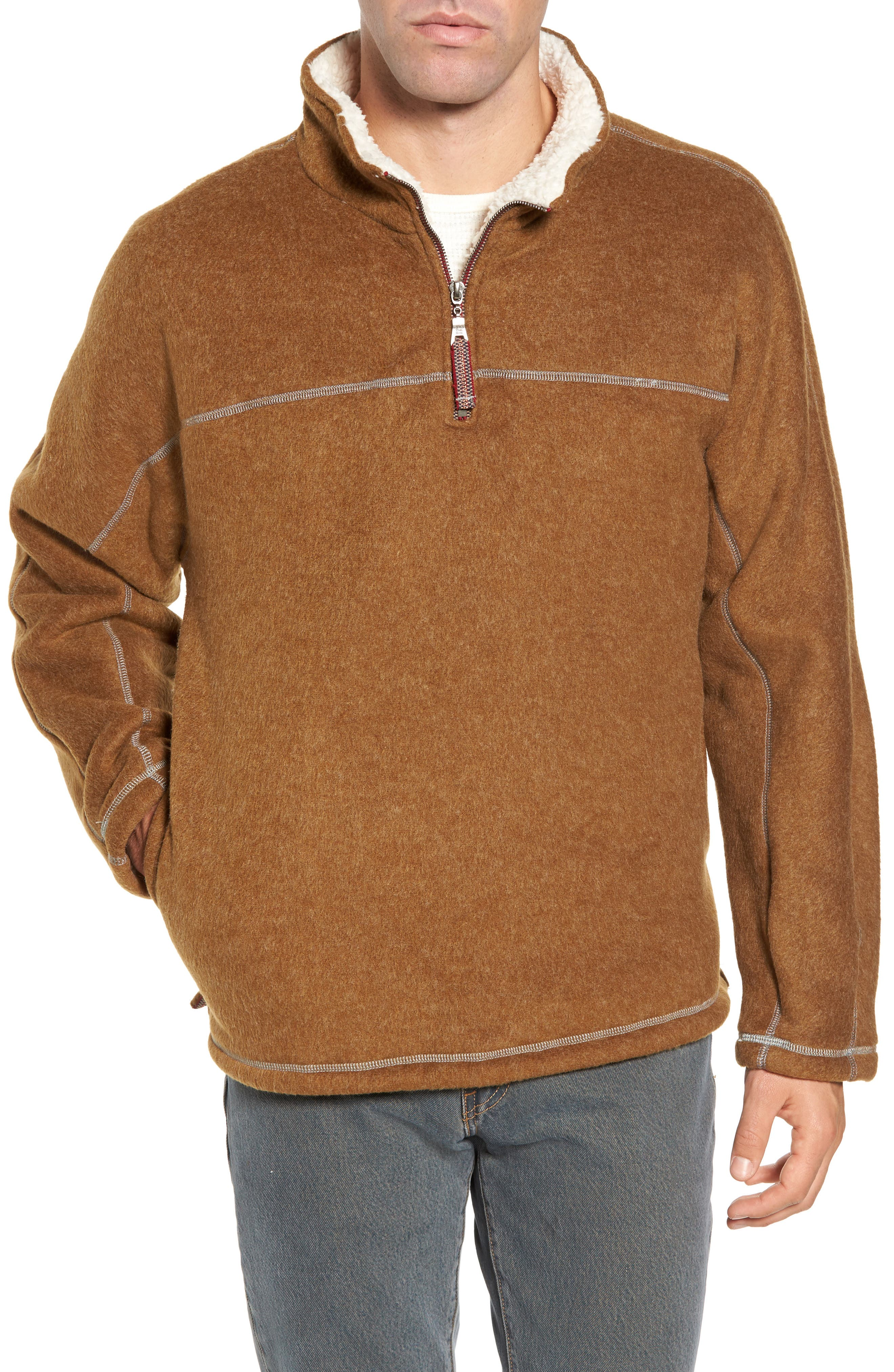 True Grit Faux Fur Lined Fleece Quarter Zip Pullover