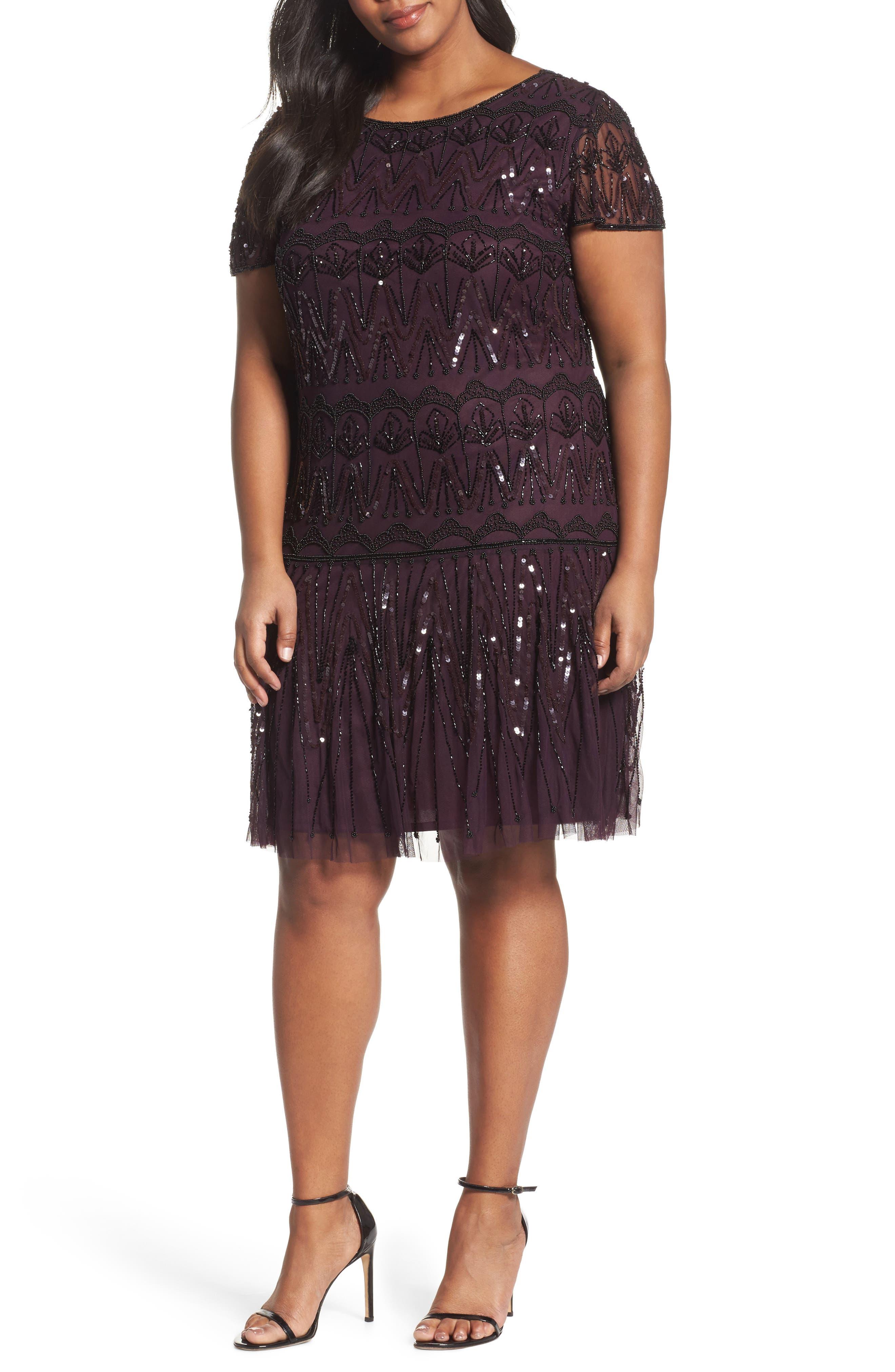 Pisarro Nights Beaded Flounce Dress (Plus Size)